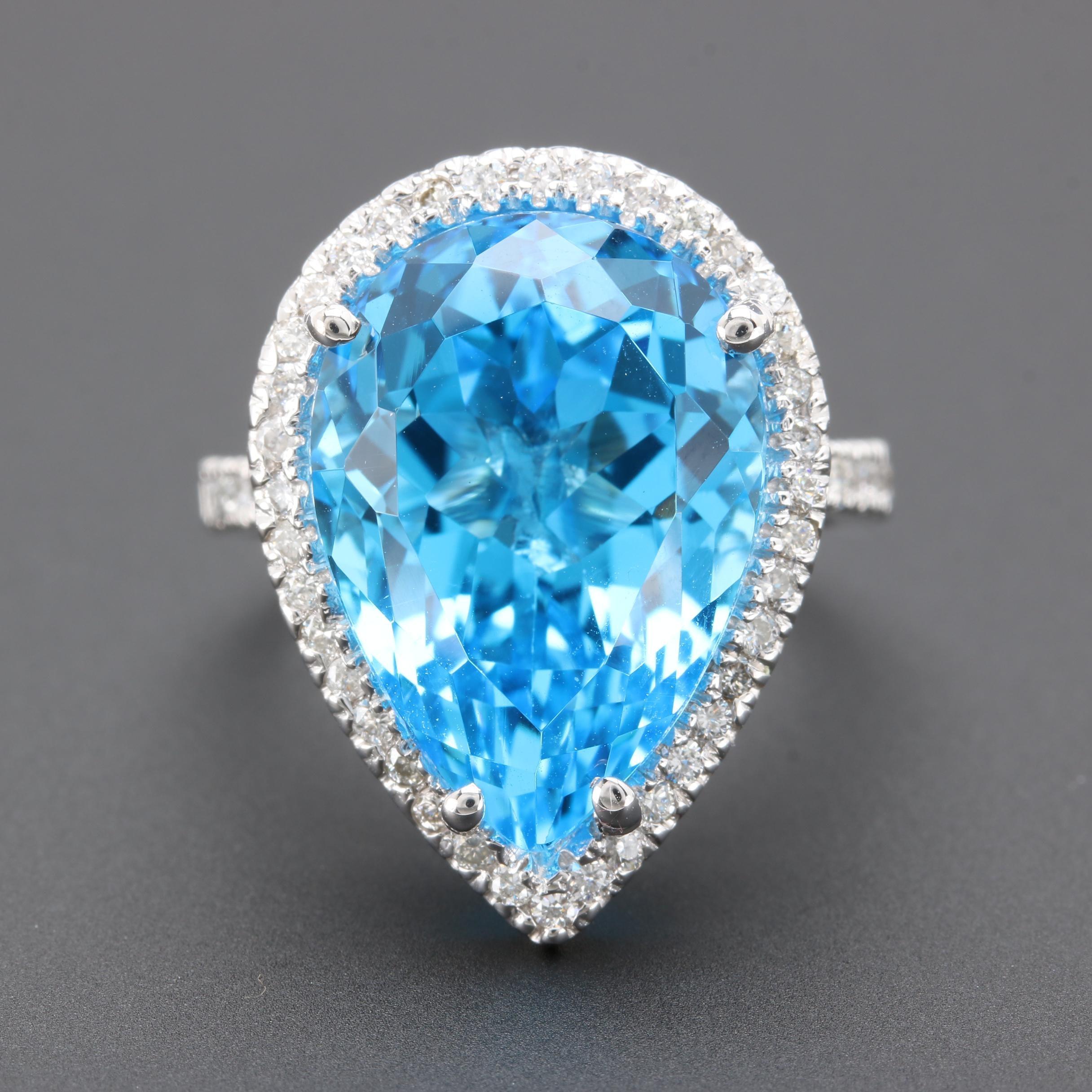 14K White Gold 15.50 CT Blue Topaz and Diamond Ring