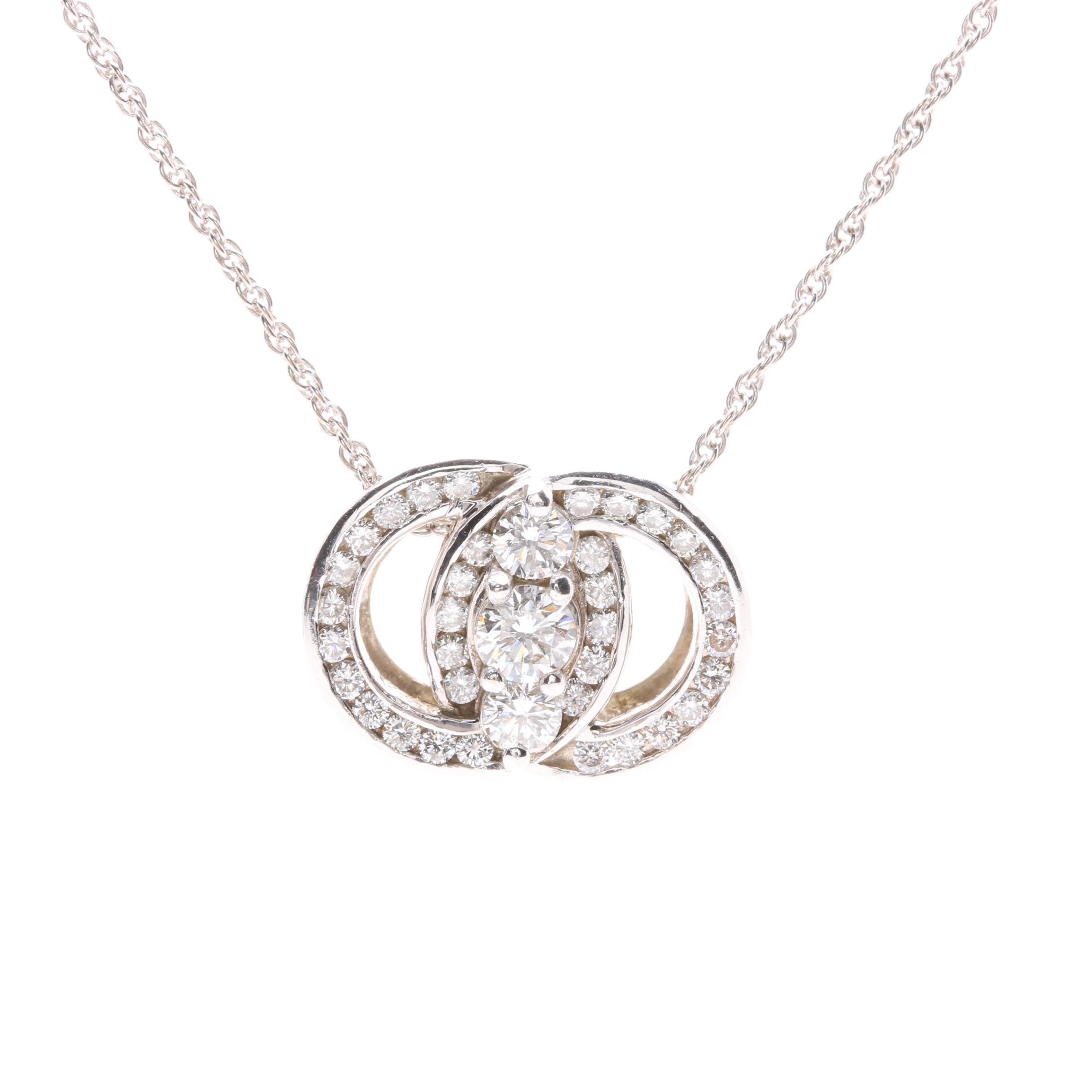14K White Gold 0.95 CTW Diamond Marriage Symbol® Pendant Necklace