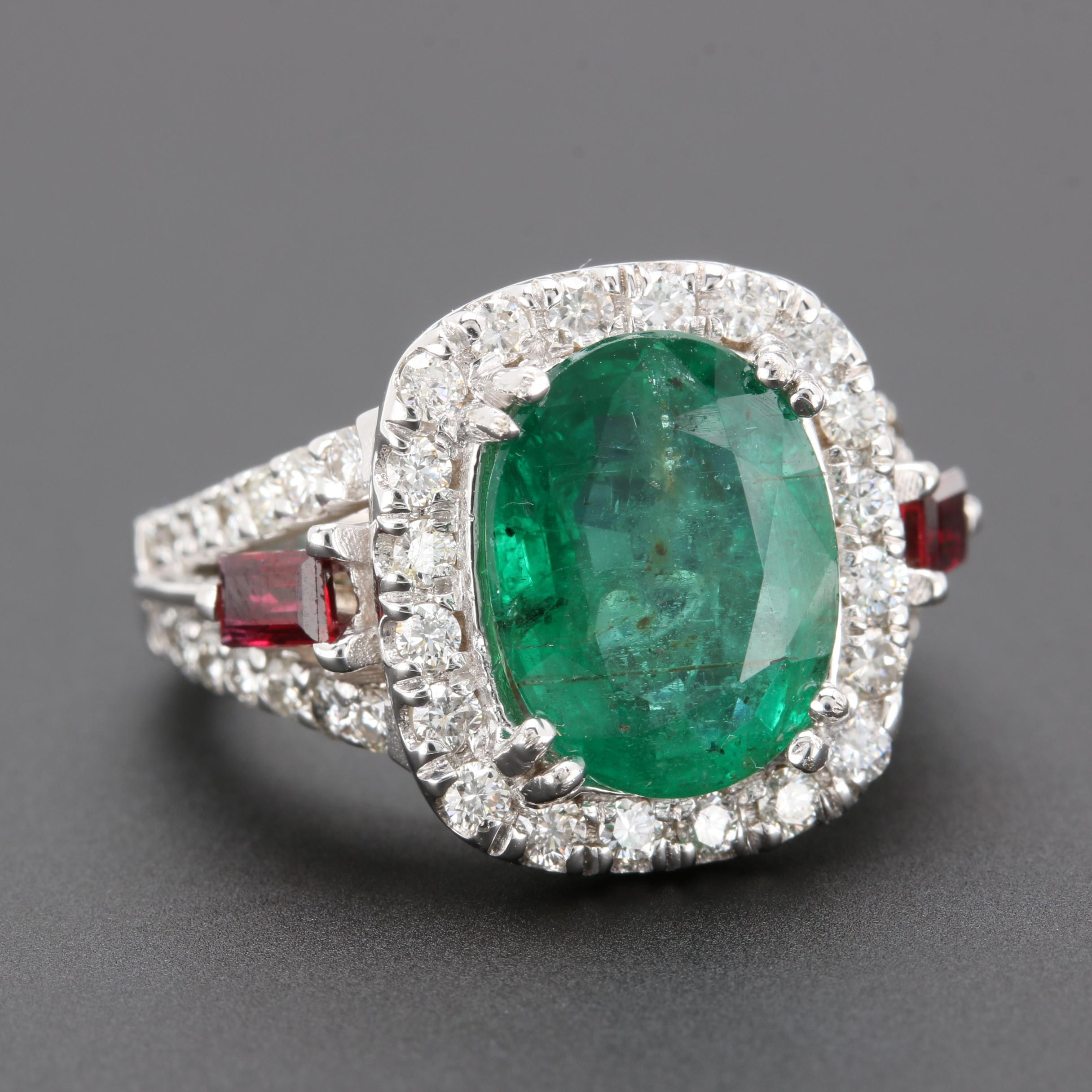 14K White Gold 2.86 CT Emerald, Ruby, and 1.96 CTW Diamond Ring