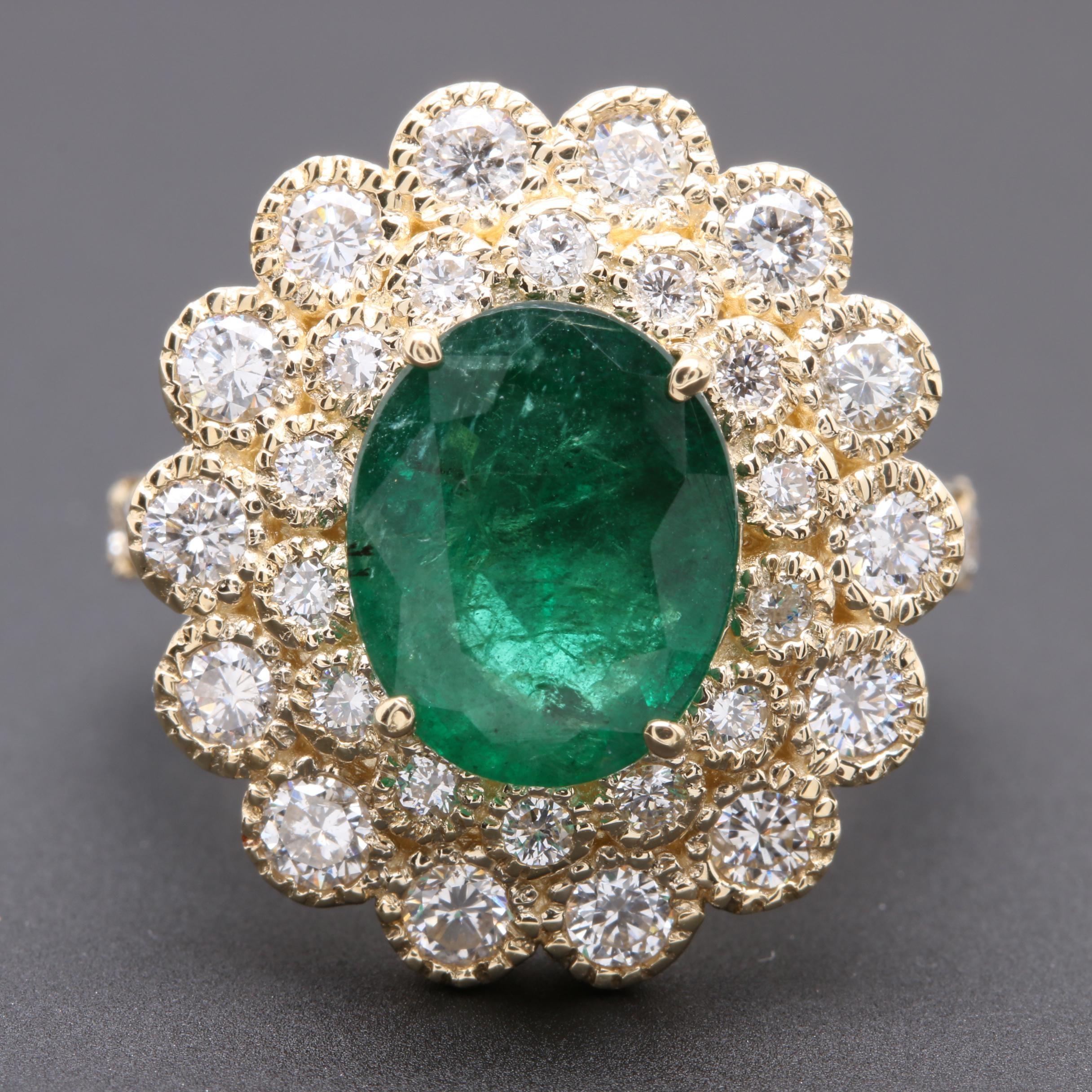 14K Yellow Gold 2.89 CT Emerald and 1.42 CTW Diamond Ring