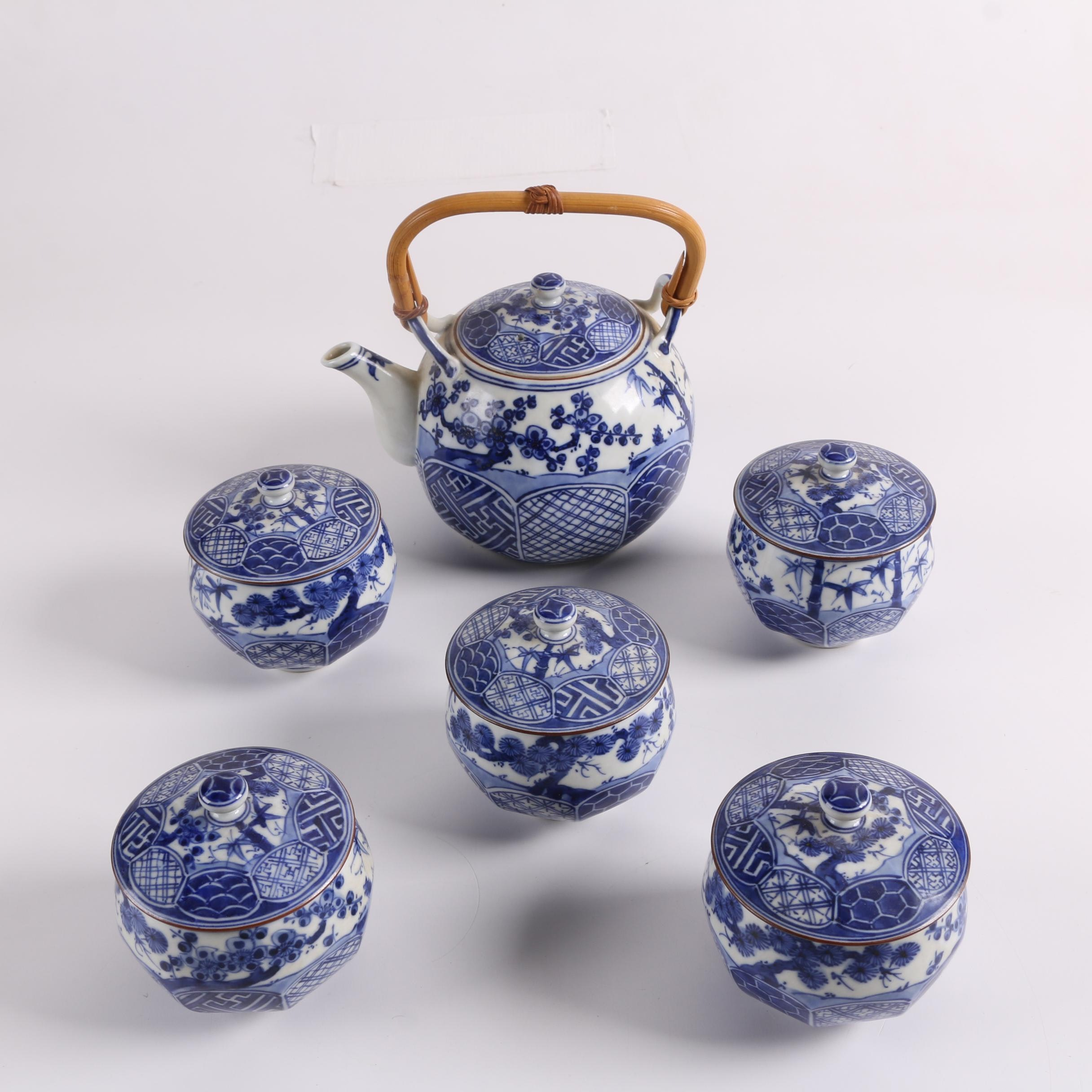 Japanese Blue and White Porcelain Tea Set with Lidded Cups