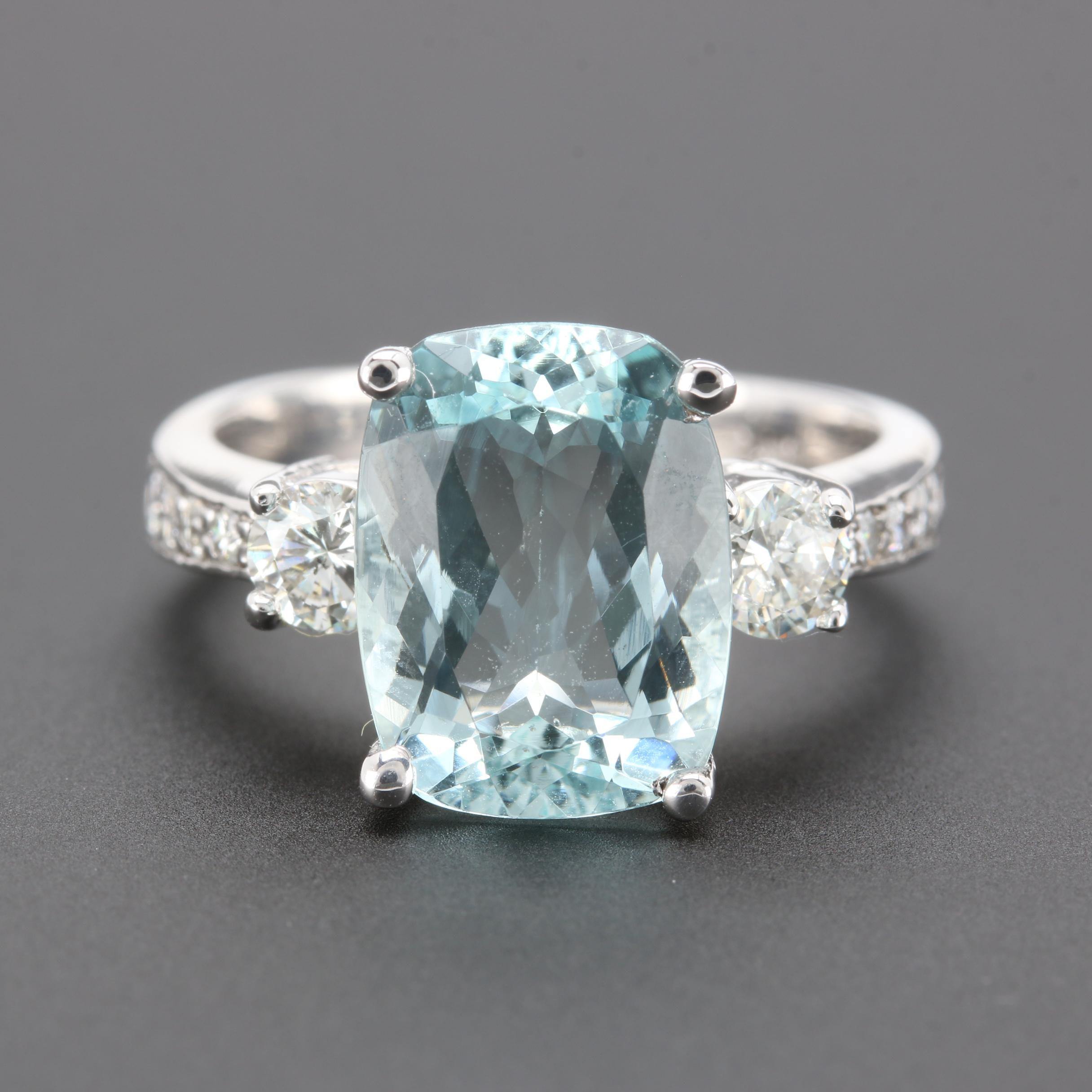 14K White Gold 3.61 CT Aquamarine and Diamond Ring