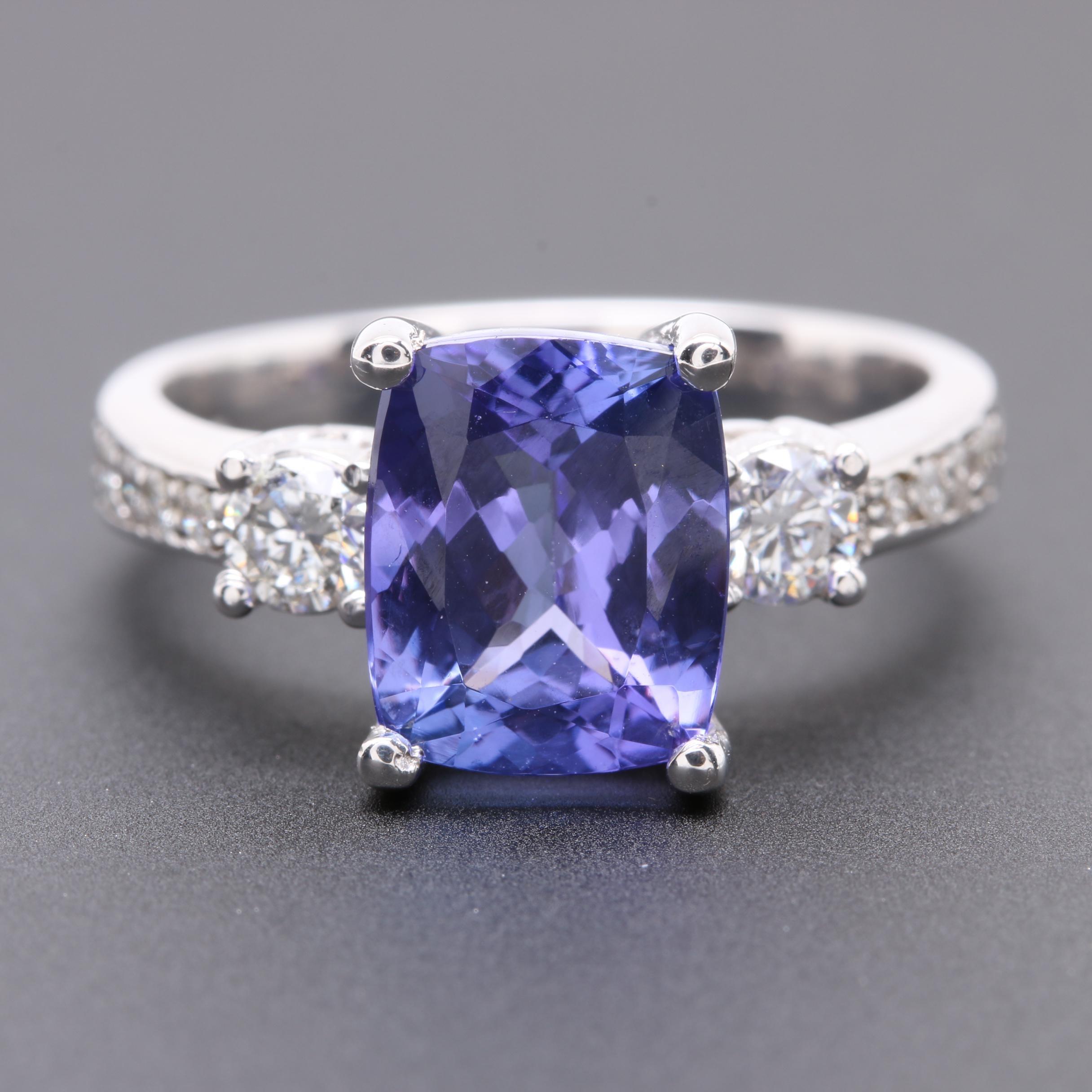 18K White Gold 3.23 CT Tanzanite and Diamond Ring