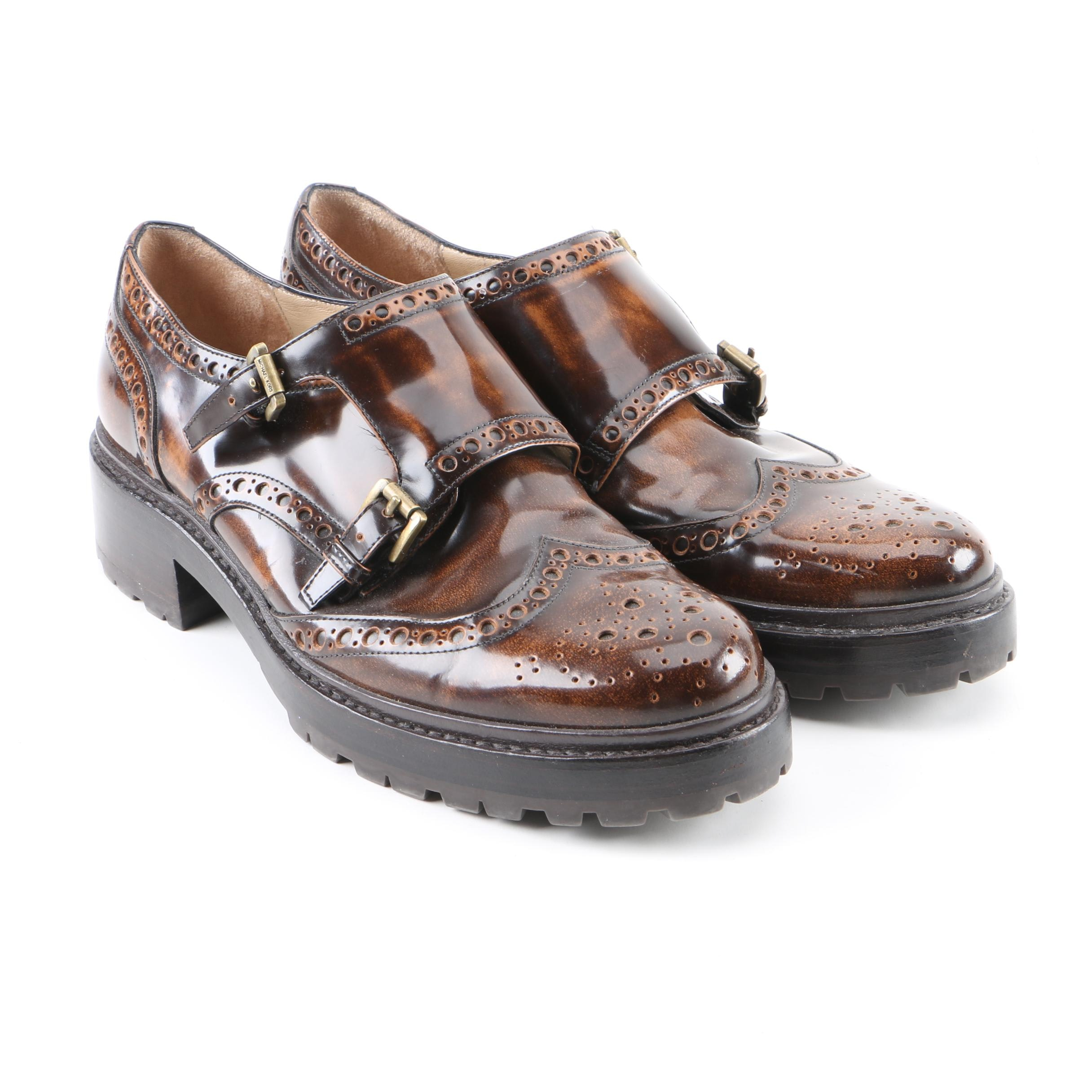 Women's Michael Kors Collection Brown Leather Double Monk Strap Wingtip Shoes