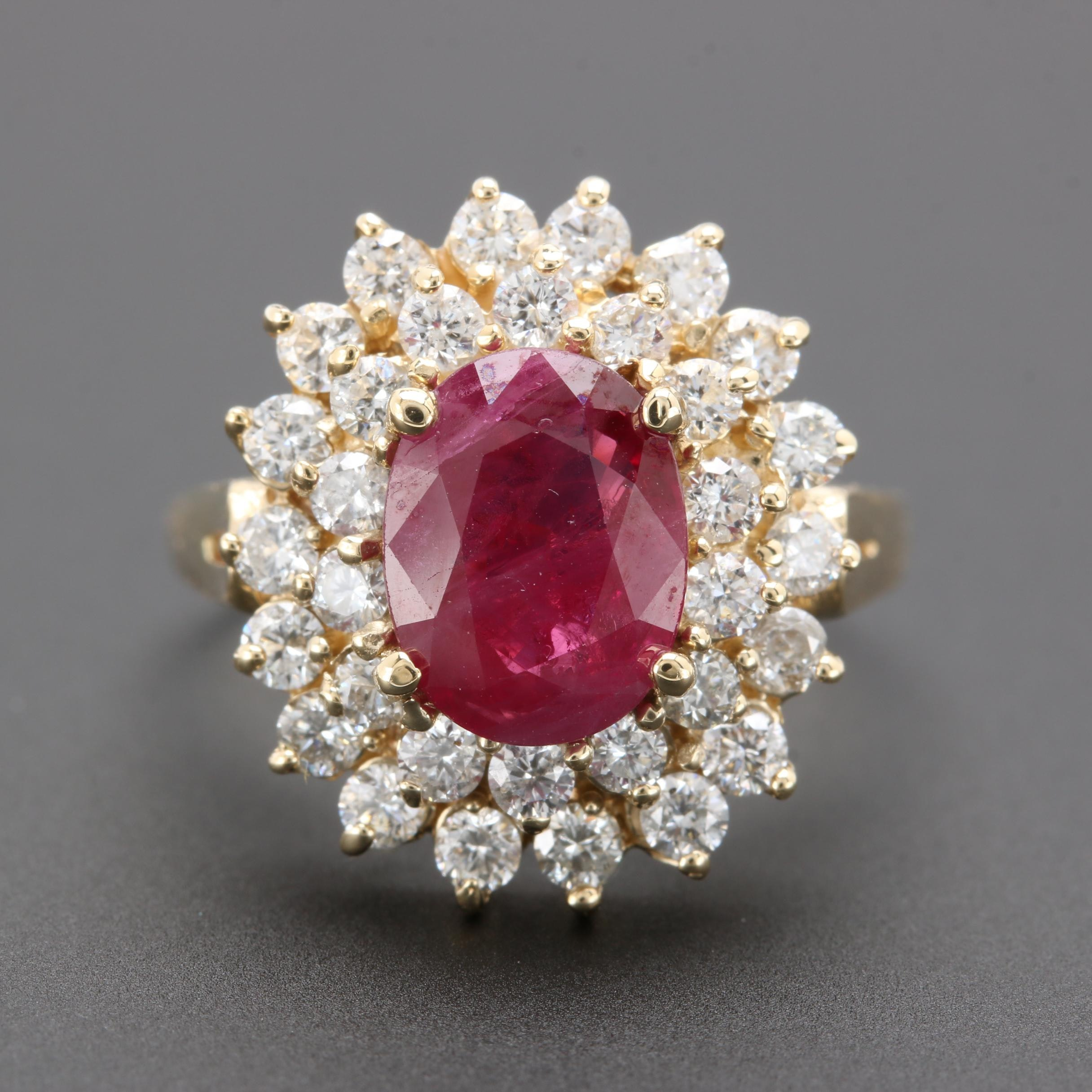 14K Yellow Gold 1.88 CT Ruby and 1.12 CTW Diamond Ring