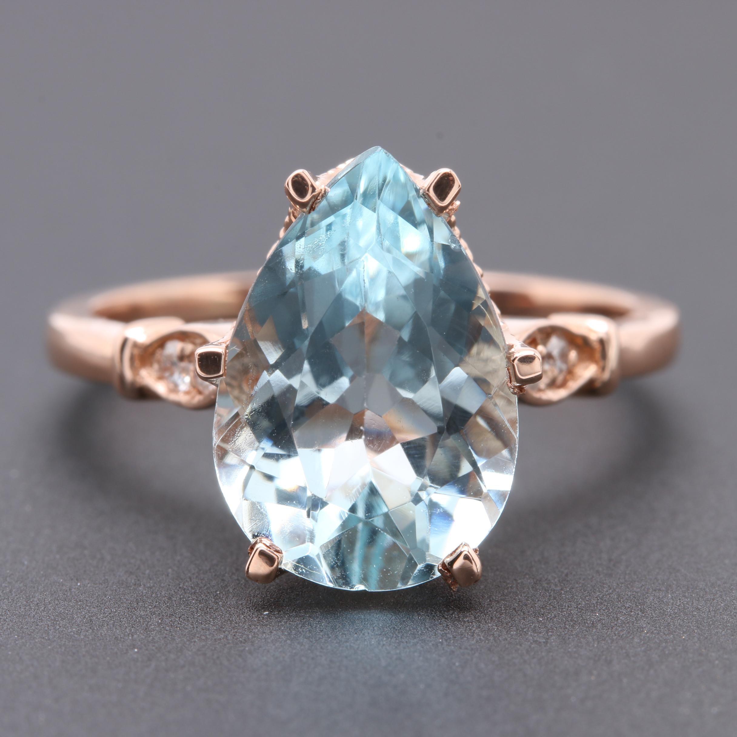 14K Rose Gold 3.31 CT Aquamarine and Diamond Ring