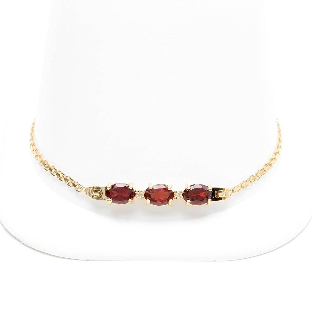 14K Yellow Gold Garnet and Diamond Bracelet