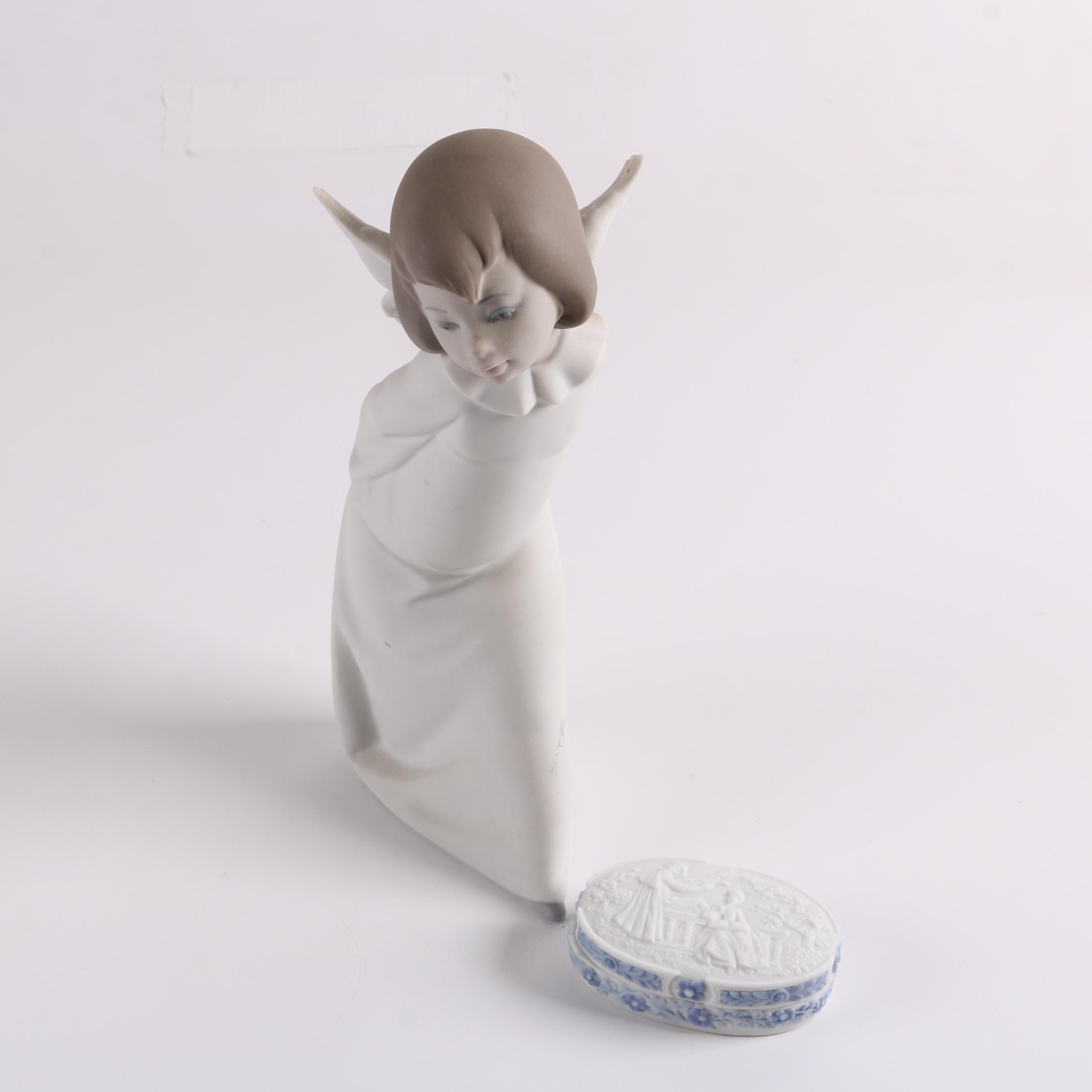 "Lladró Porcelain ""Curious Angel"" Figurine and Trinket Box"