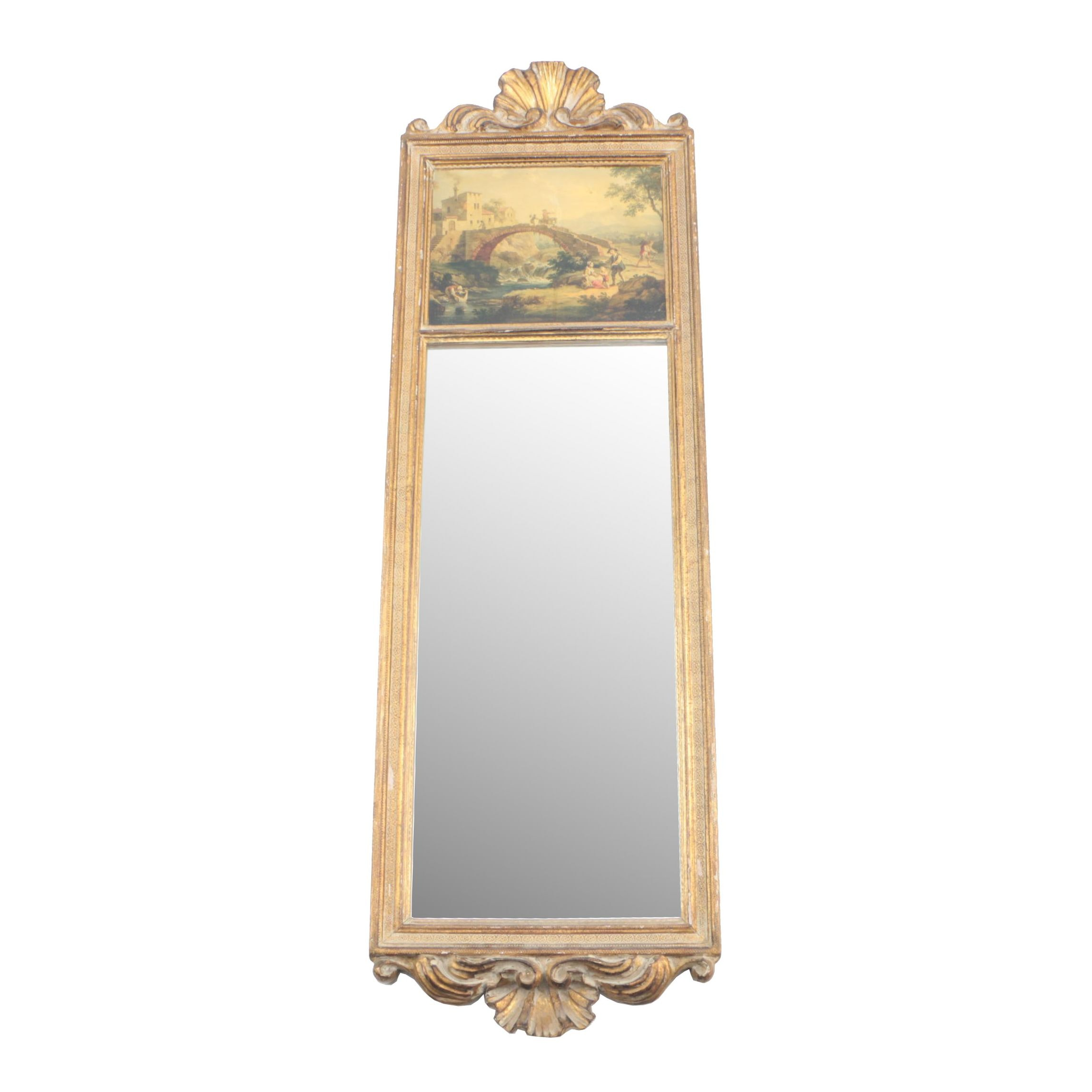 Italian Trumeau Mirror with Colored Collotype after Vittorio A. Cignaroli