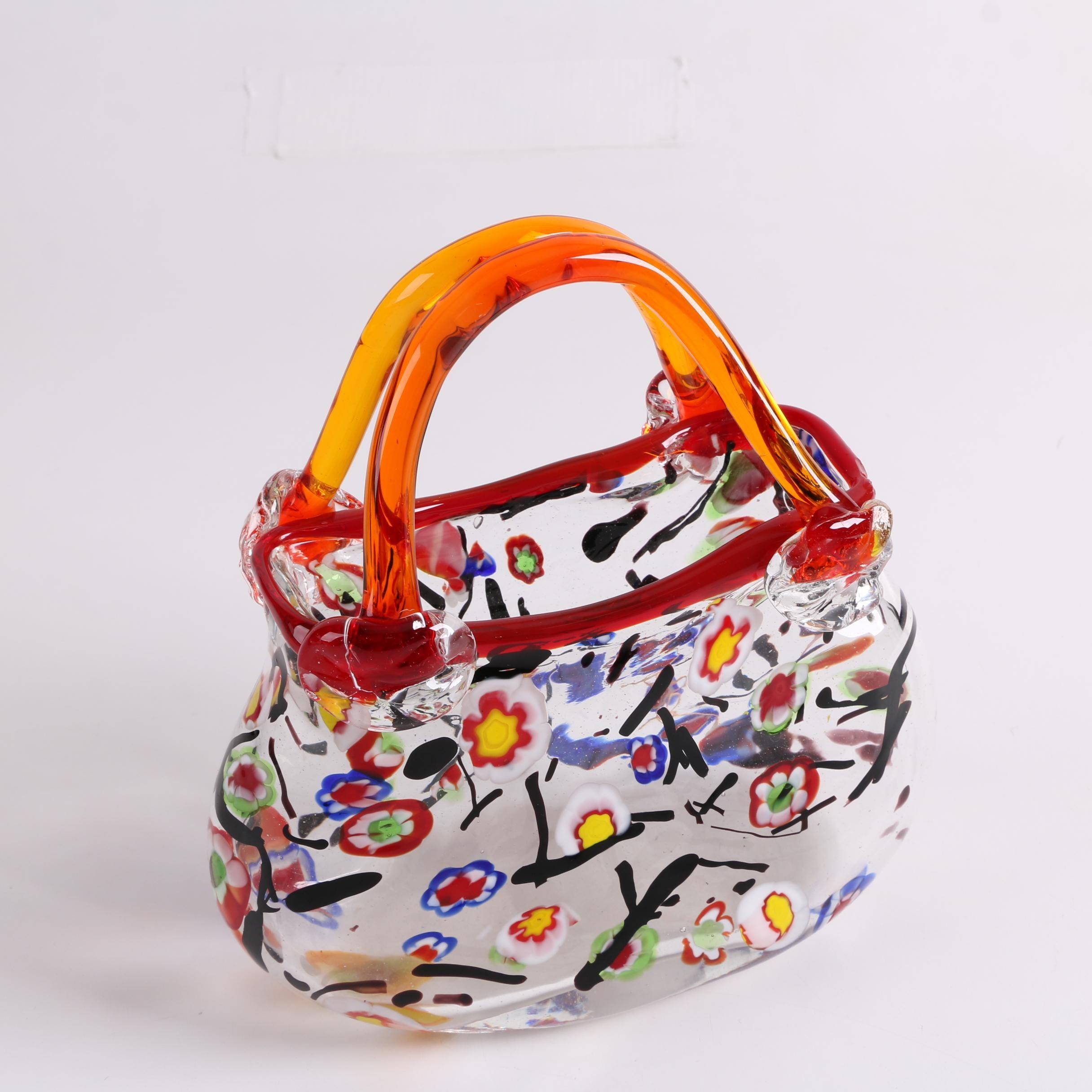 Murano Style Millefiori Blown Glass Handbag Vase
