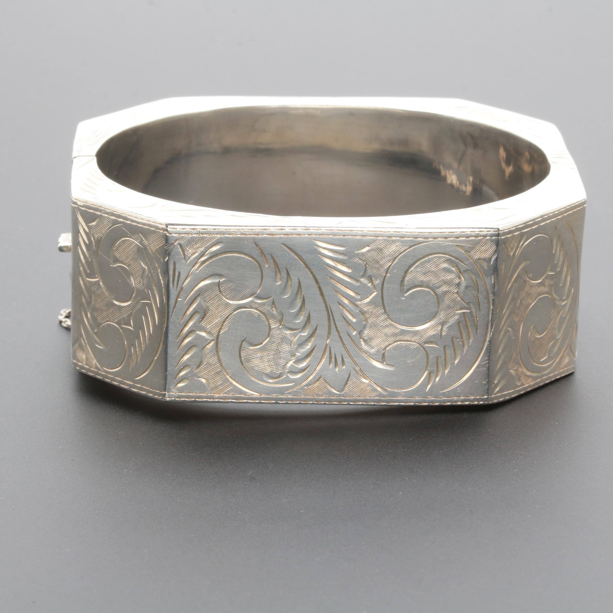 Sterling Silver Hexagonal Hinged Bangle Bracelet