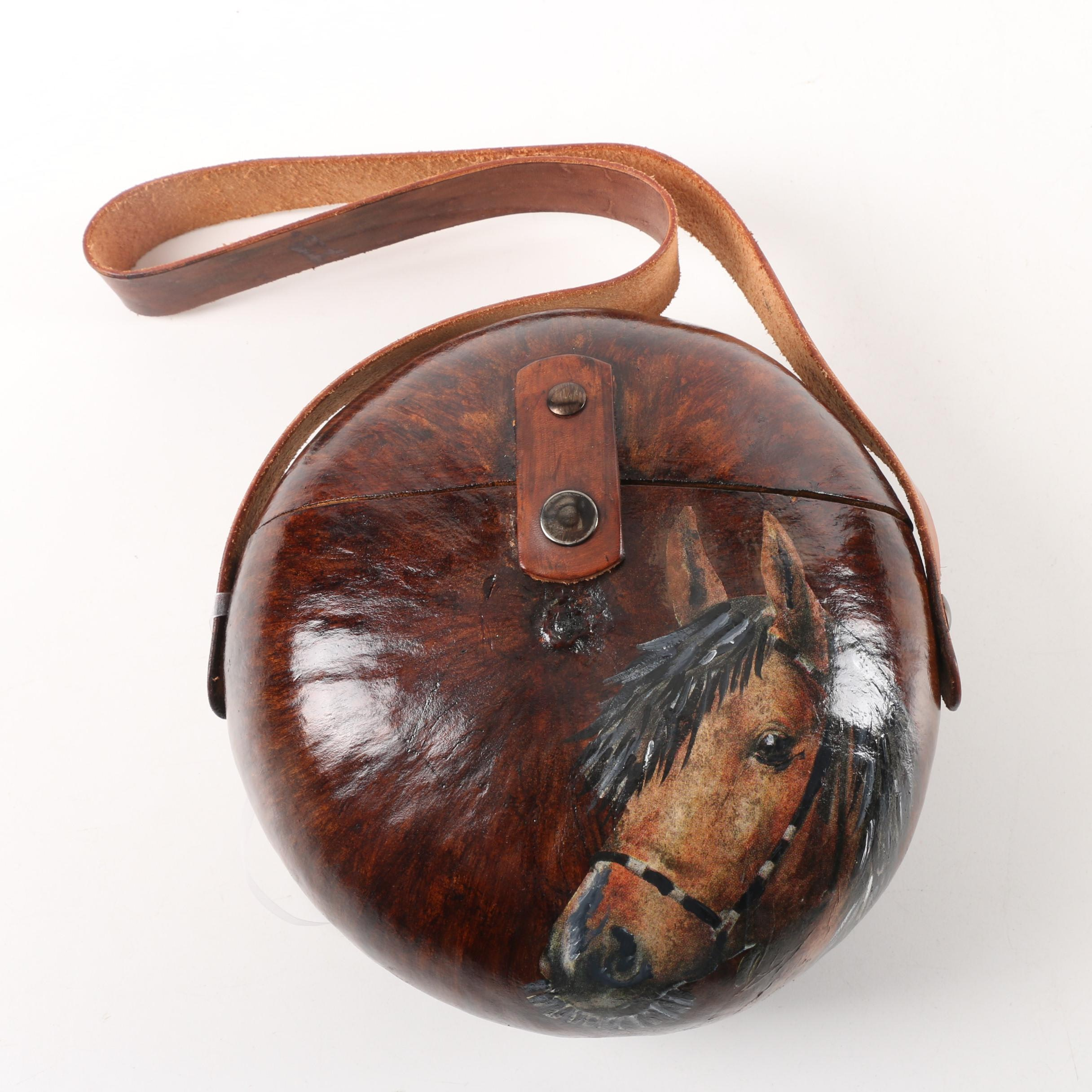 """Snook 'n' Company Hand-Decorated and Signed """"Beautiful Stallion"""" Gourd Handbag"""