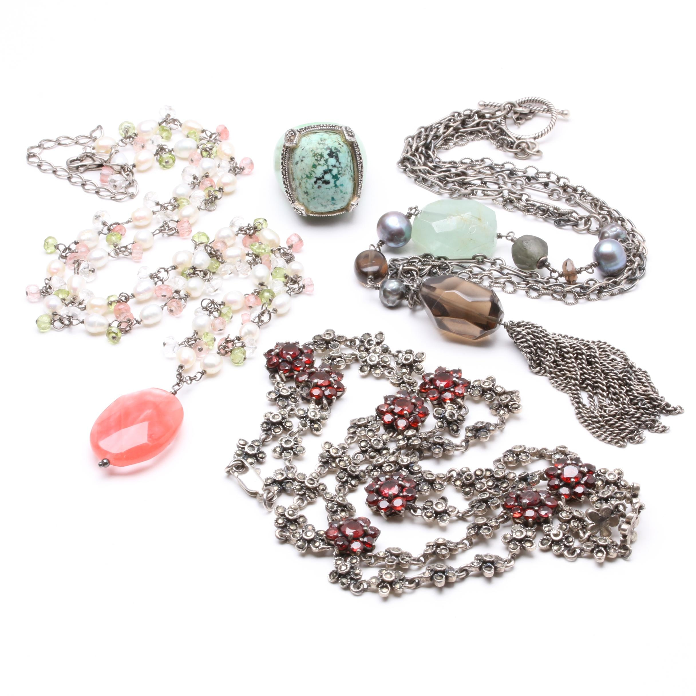 Sterling Silver Garnet, Smoky Quartz and Prehnite Necklaces and a Ring