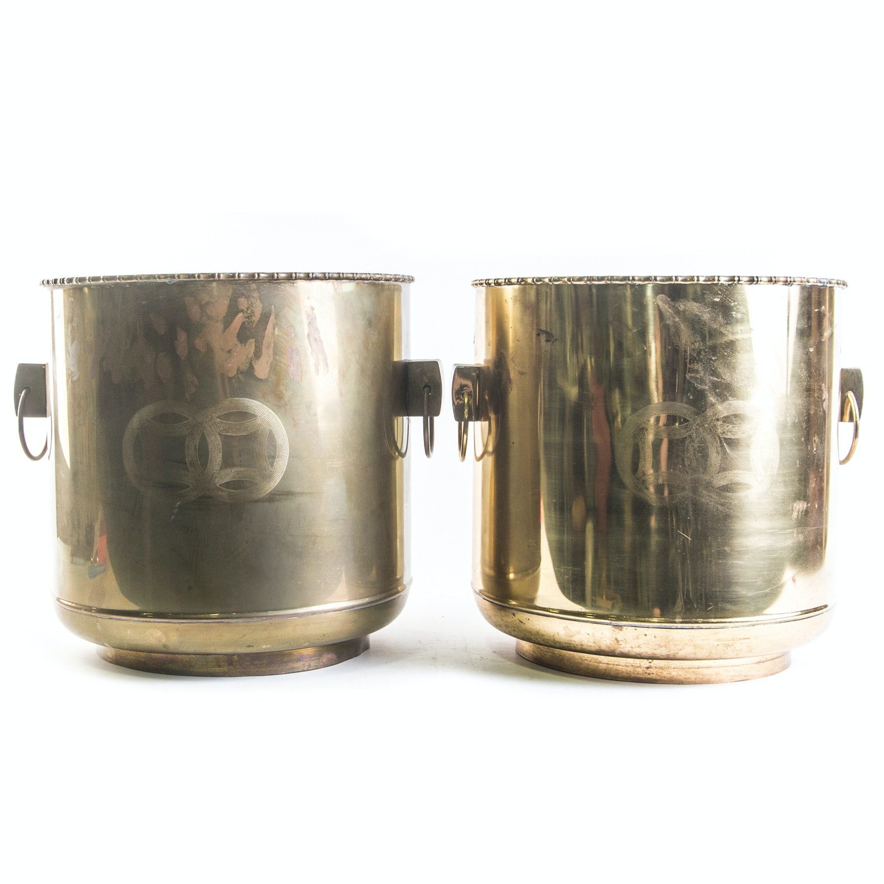 Vintage Chinese Inspired Brass Planters