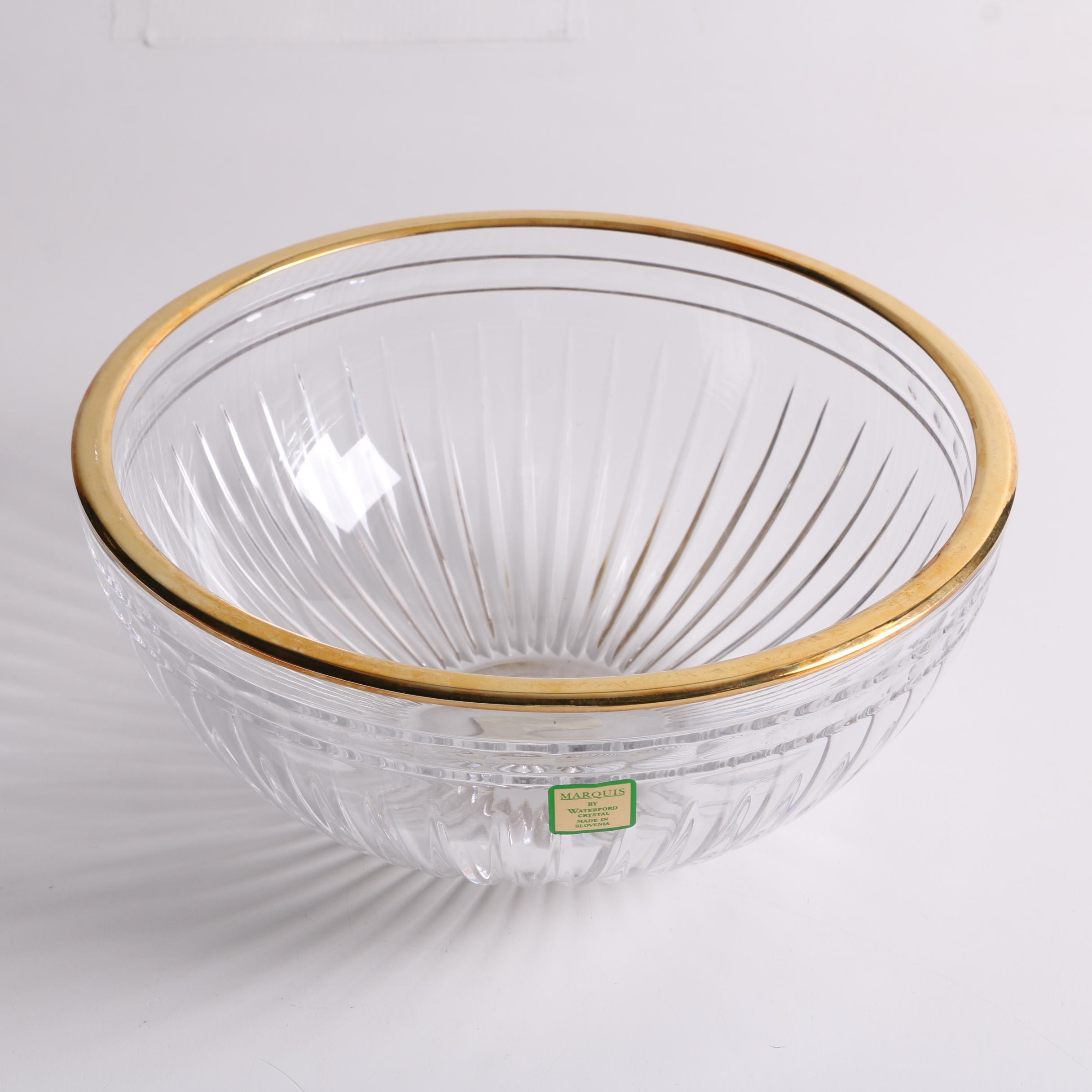 """Marquis by Waterford Crystal """"Hanover Gold"""" Serving Bowl"""