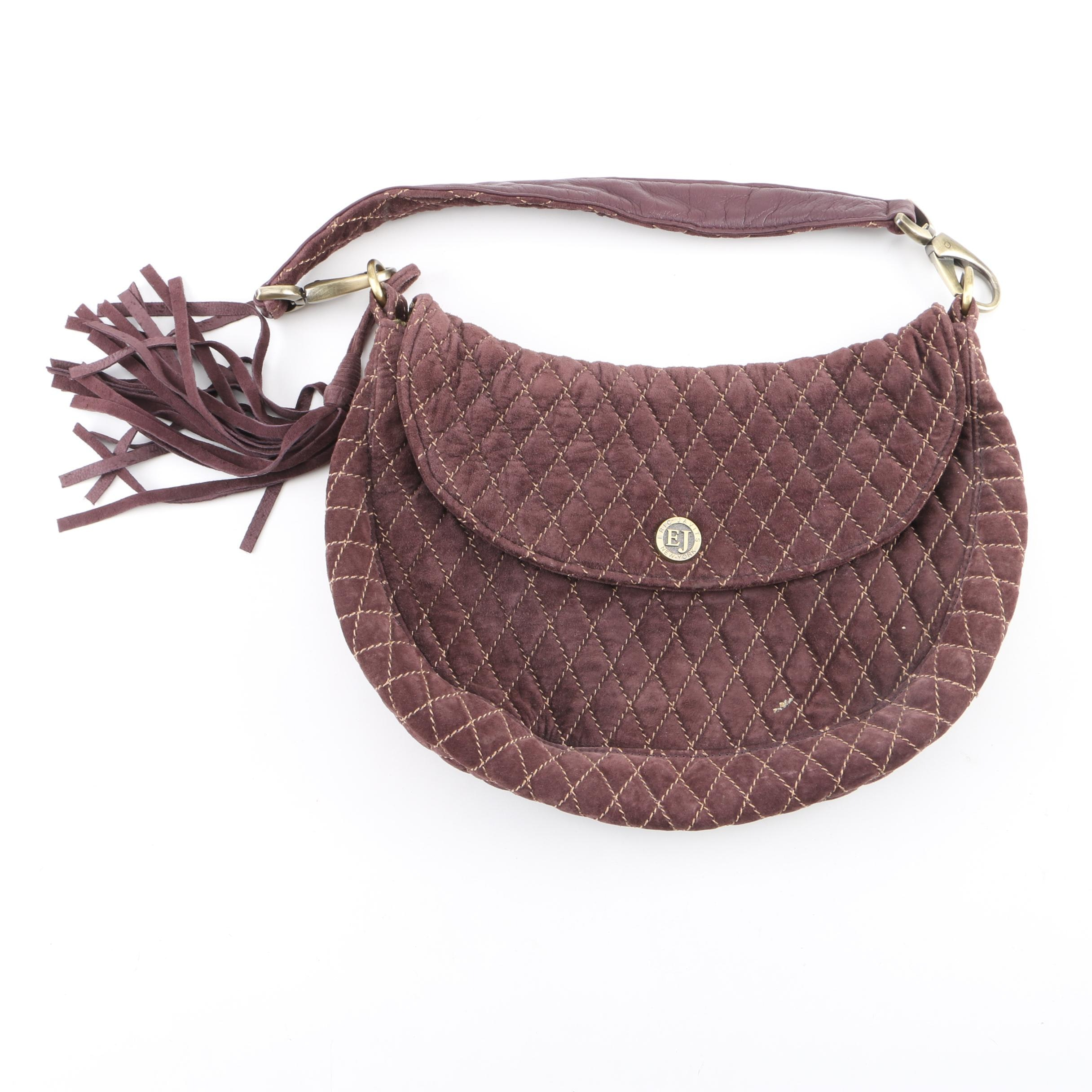 Eric Javits Brown Quilted Suede Flap Front Hobo Bag