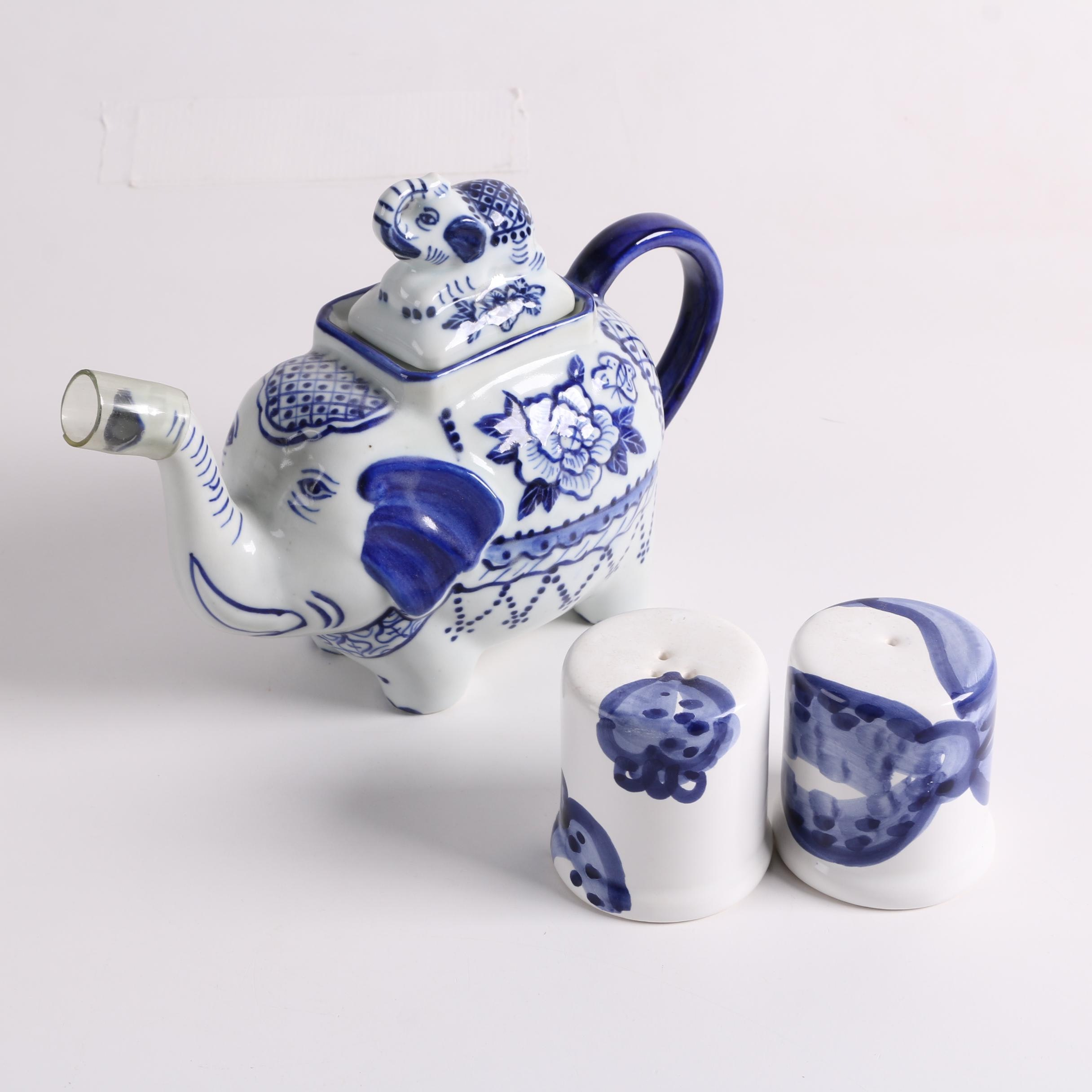 Thai Blue and White Elephant Ceramic Teapot with Shakers
