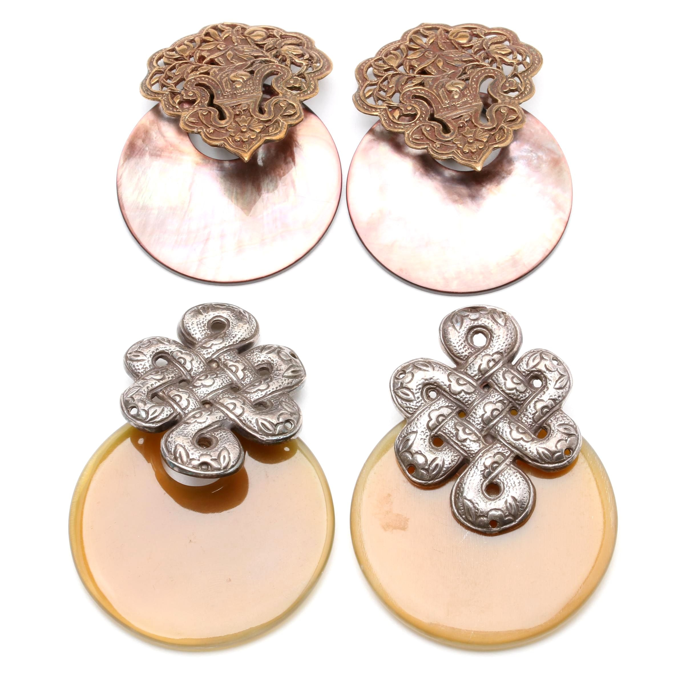 Stephen Dweck Sterling Silver and Copper Shell and Horn Earrings