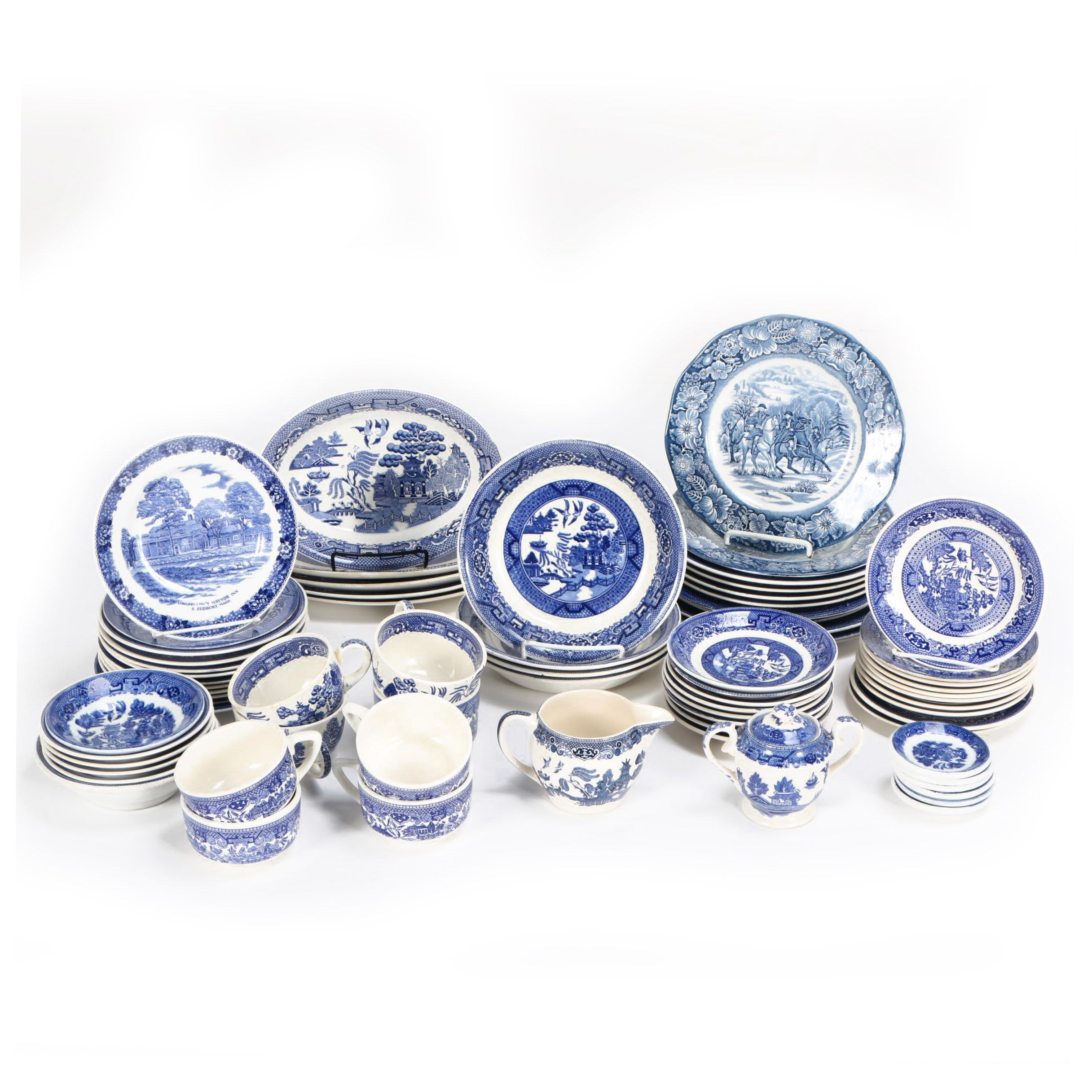 """Vintage """"Willow"""" and Other Blue and White Transfer Printed Dinnerware"""