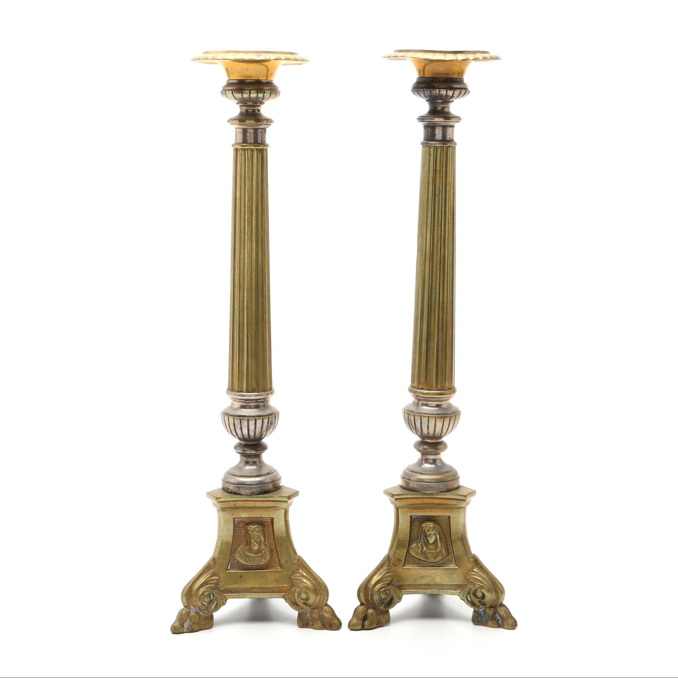 Circa 1900 French Renaissance Style Brass Pricket Candlesticks
