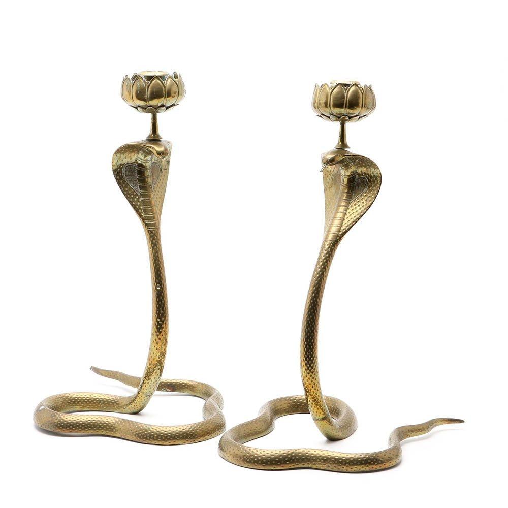 Brass Cobra Form Candlesticks