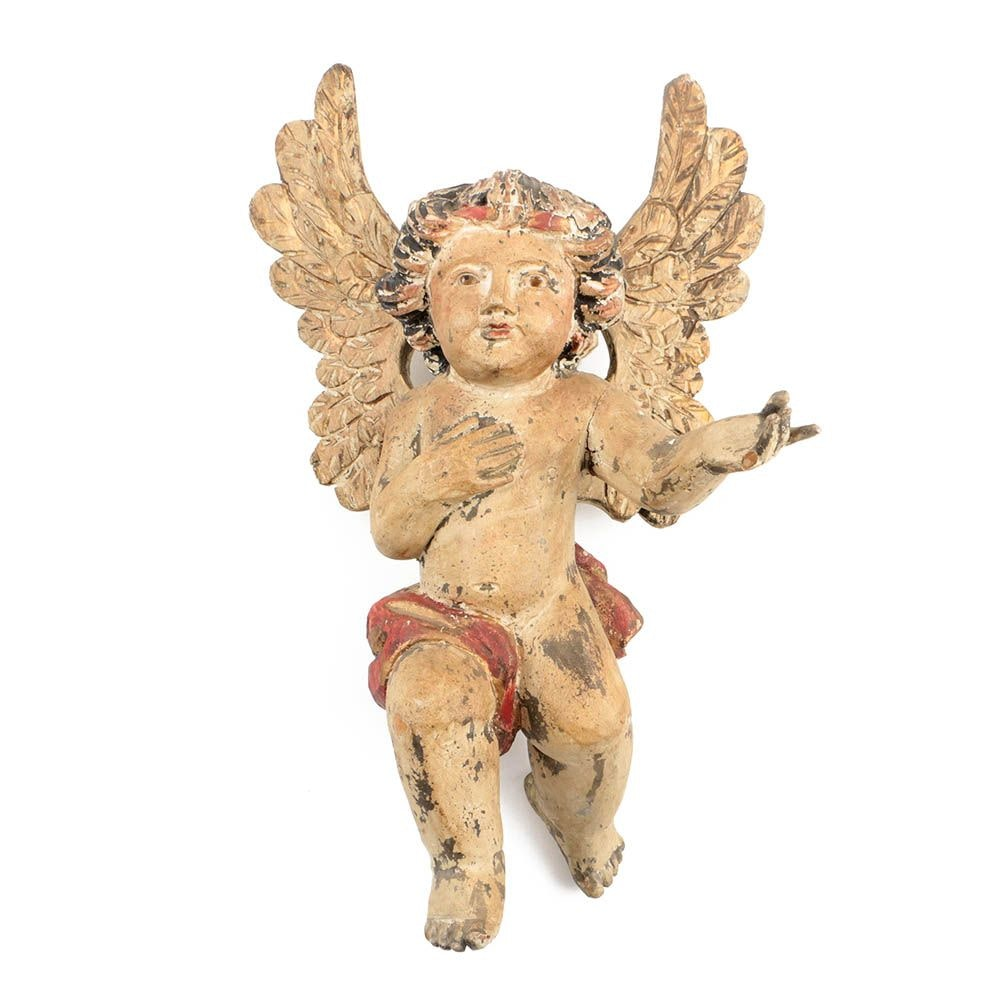 Antique Spanish Colonial Style Carved and Painted Wood Cherub