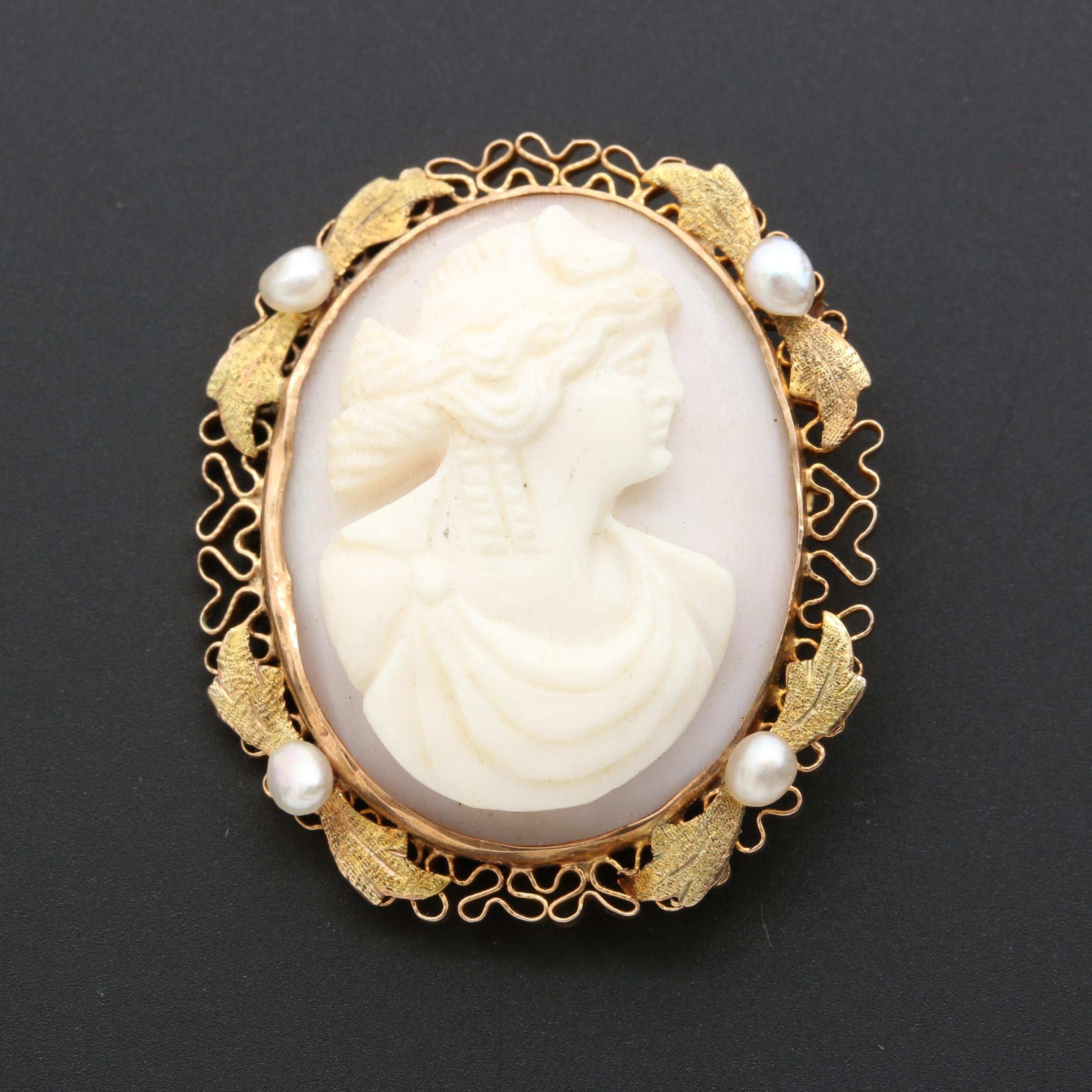 Victorian 10K Yellow Gold Pearl and Shell Cameo Brooch