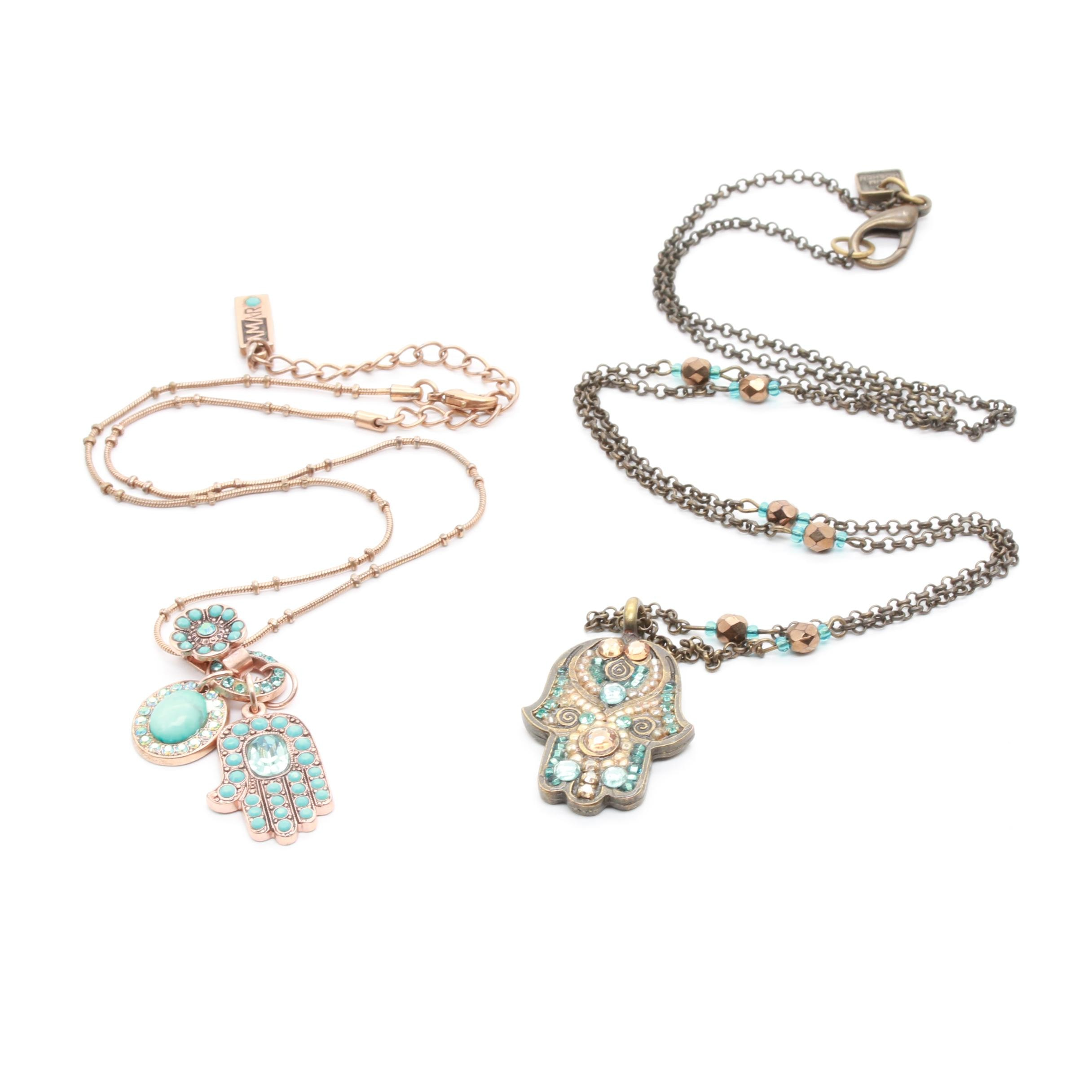 Amaro and Haim Hoshen Costume Glass and Foilback Necklaces
