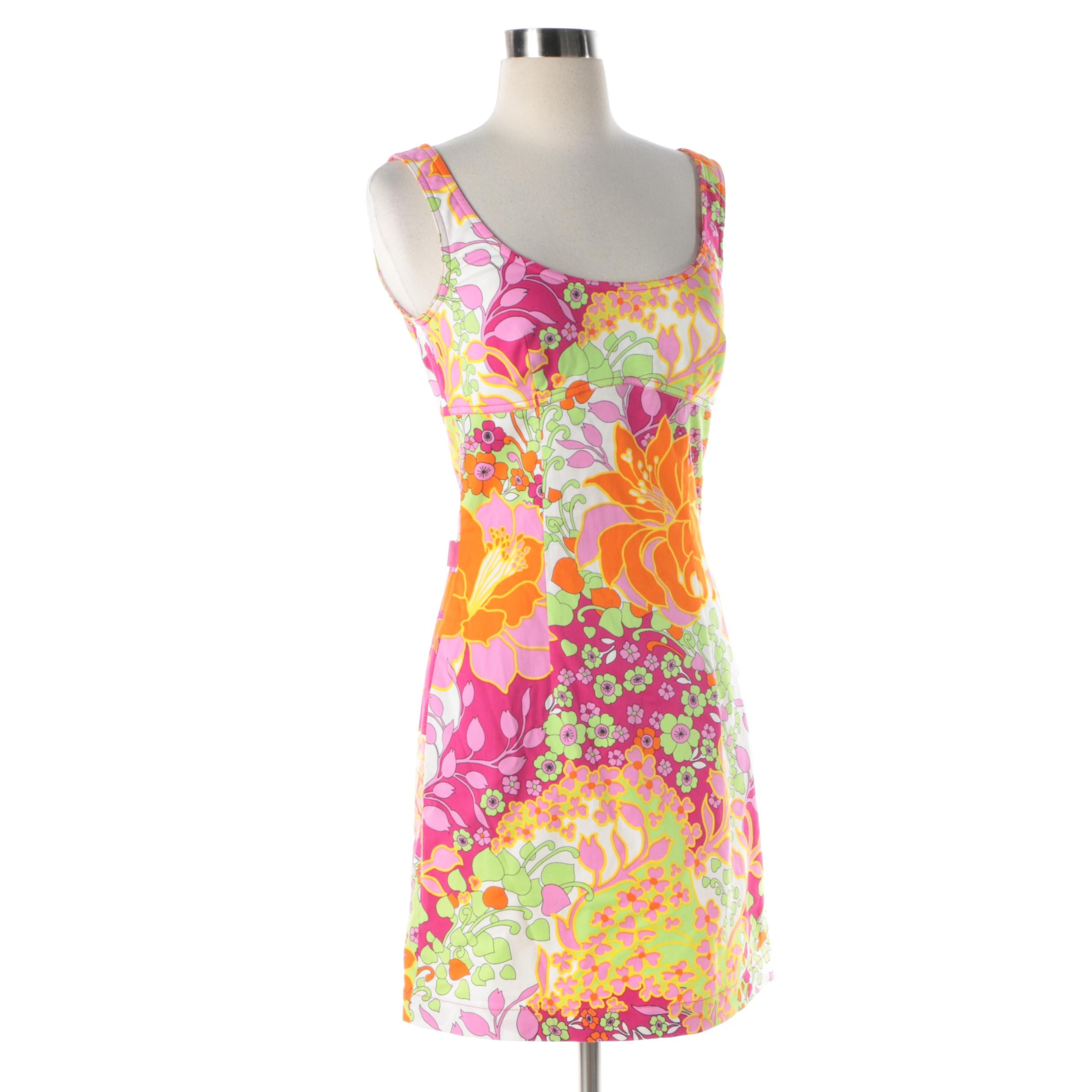 Women's Moschino Jeans Multicolored Floral Print Sleeveless Dress
