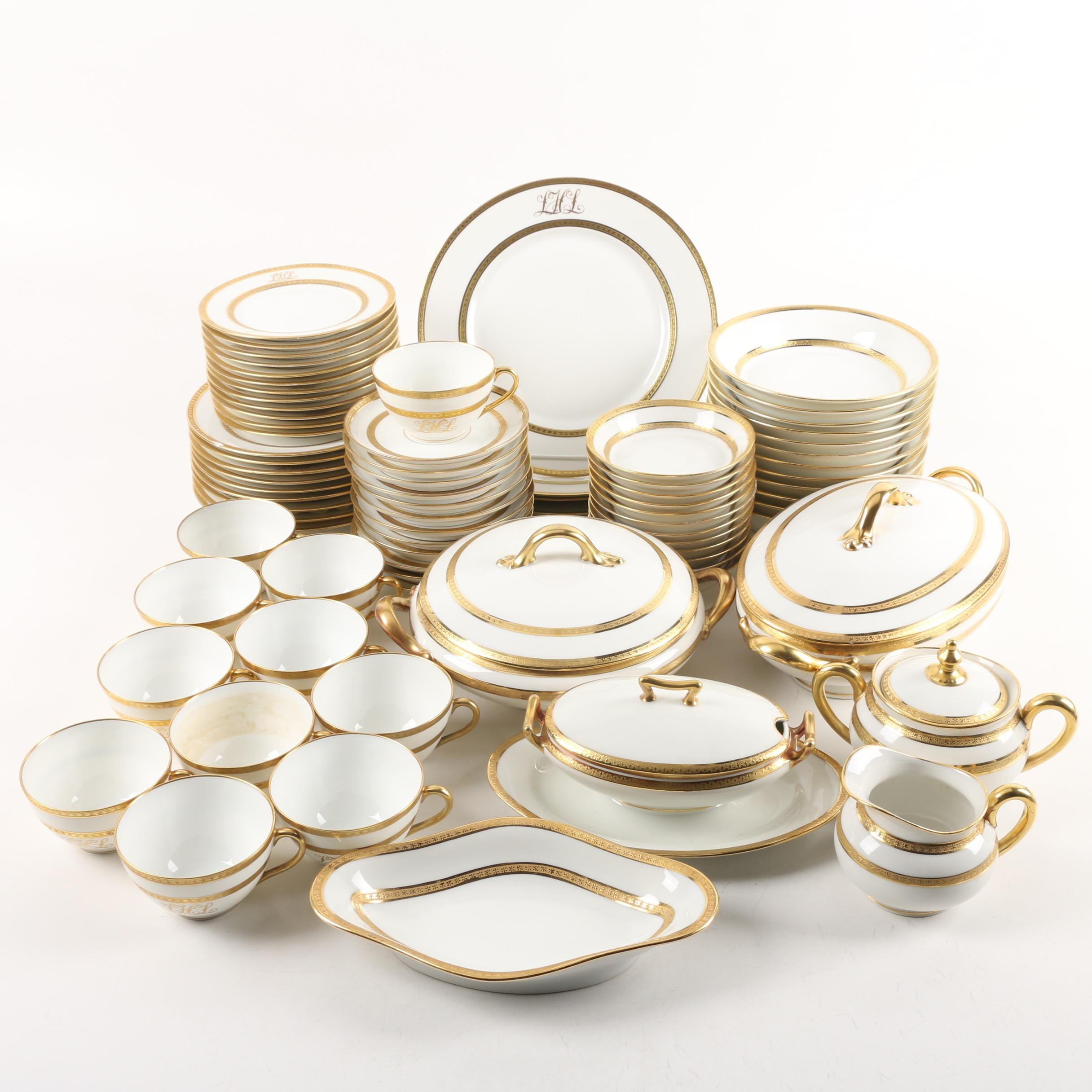 Paroutaud Fréres Limoges Monogrammed Porcelain Tableware