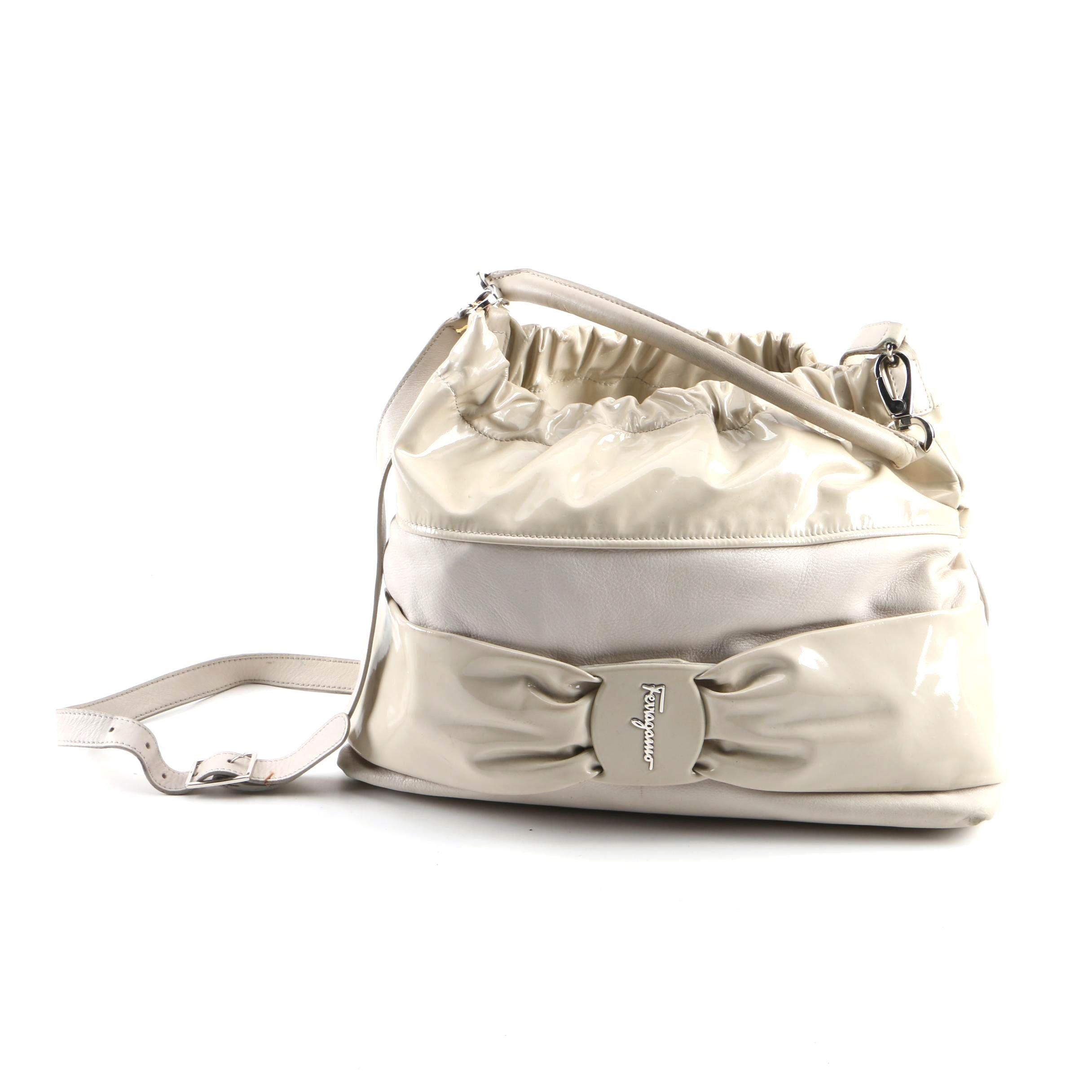 Salvatore Ferragamo Taupe Leather and Patent Leather Satchel