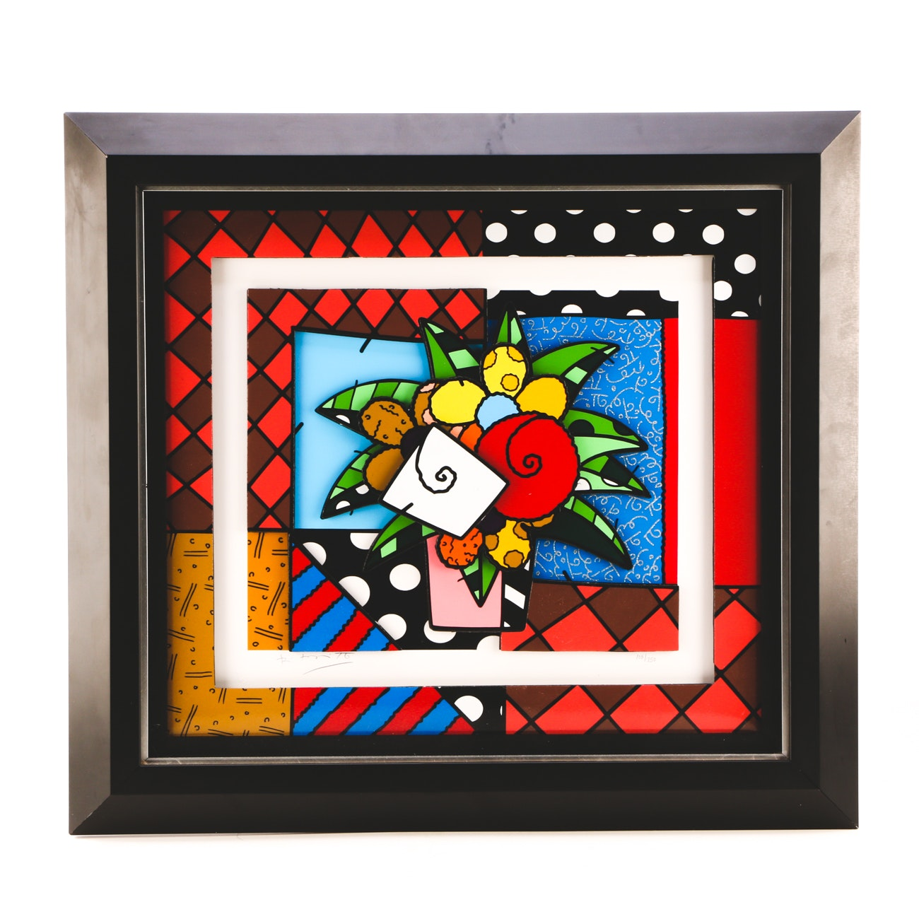 "Romero Britto Signed Limited Edition 3-Dimensional Serigraph ""New Spring"""