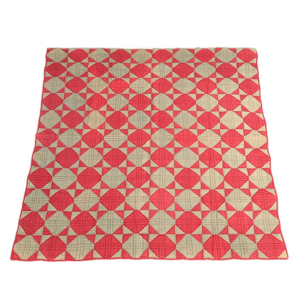 Antique Handmade Red And Muted Green Block Quilt