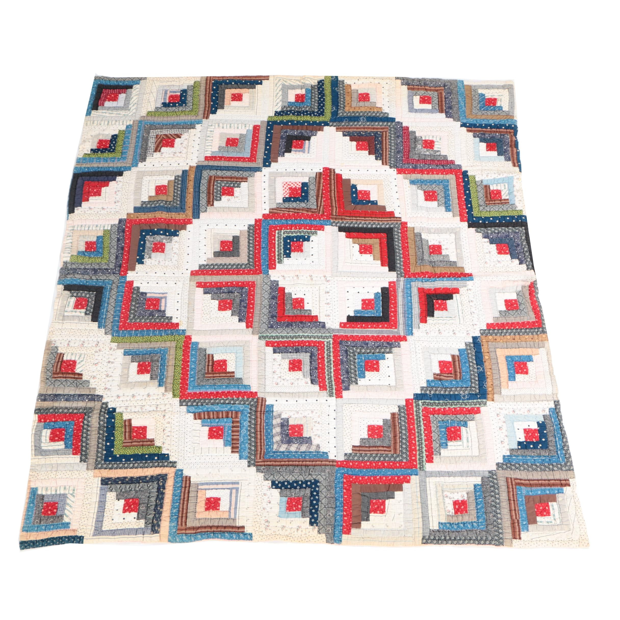 """Antique Handmade """"Log Cabin: Sunshine and Shadow"""" Quilt"""