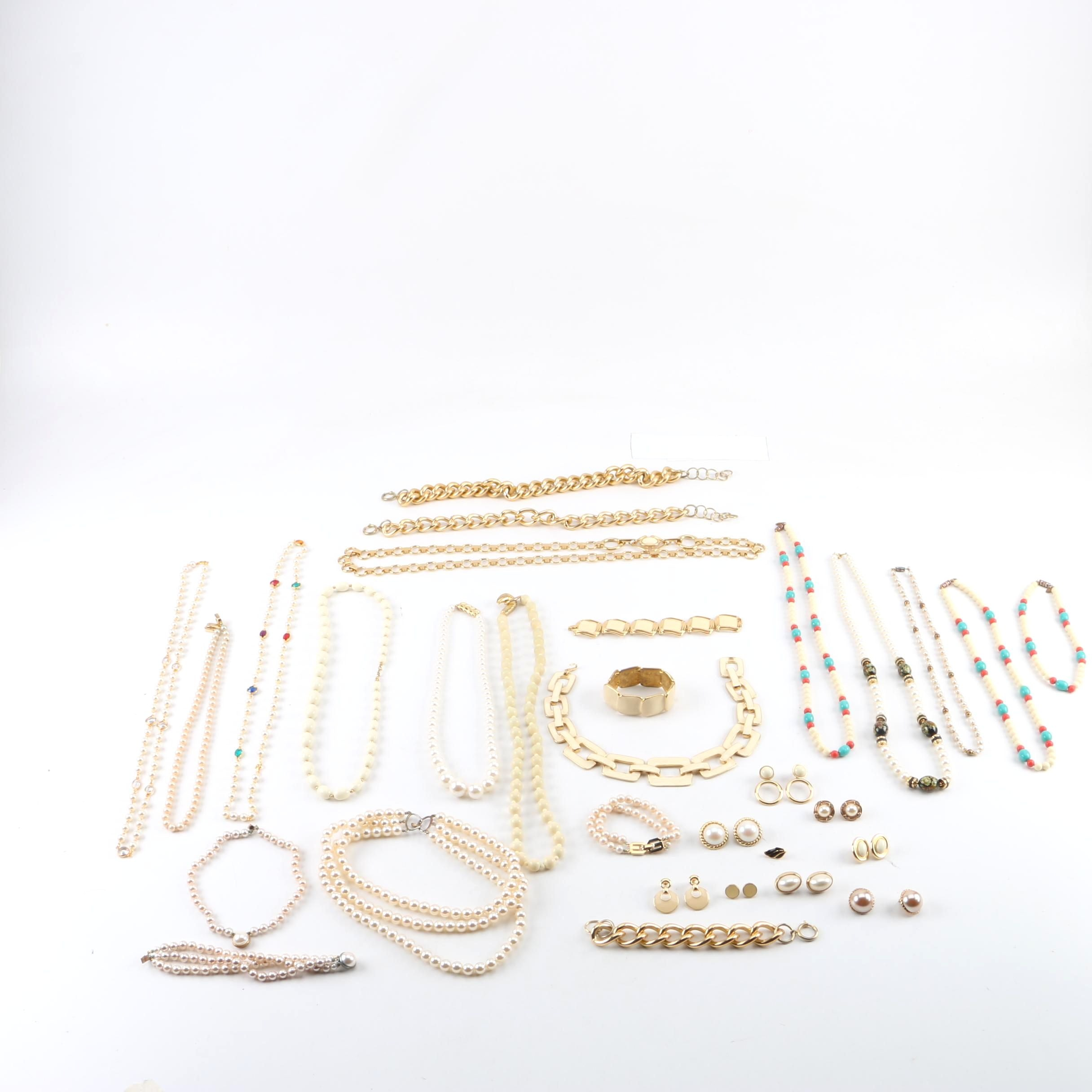 Assorted Les Bernard and Givenchy Gemstone Costume Jewelry