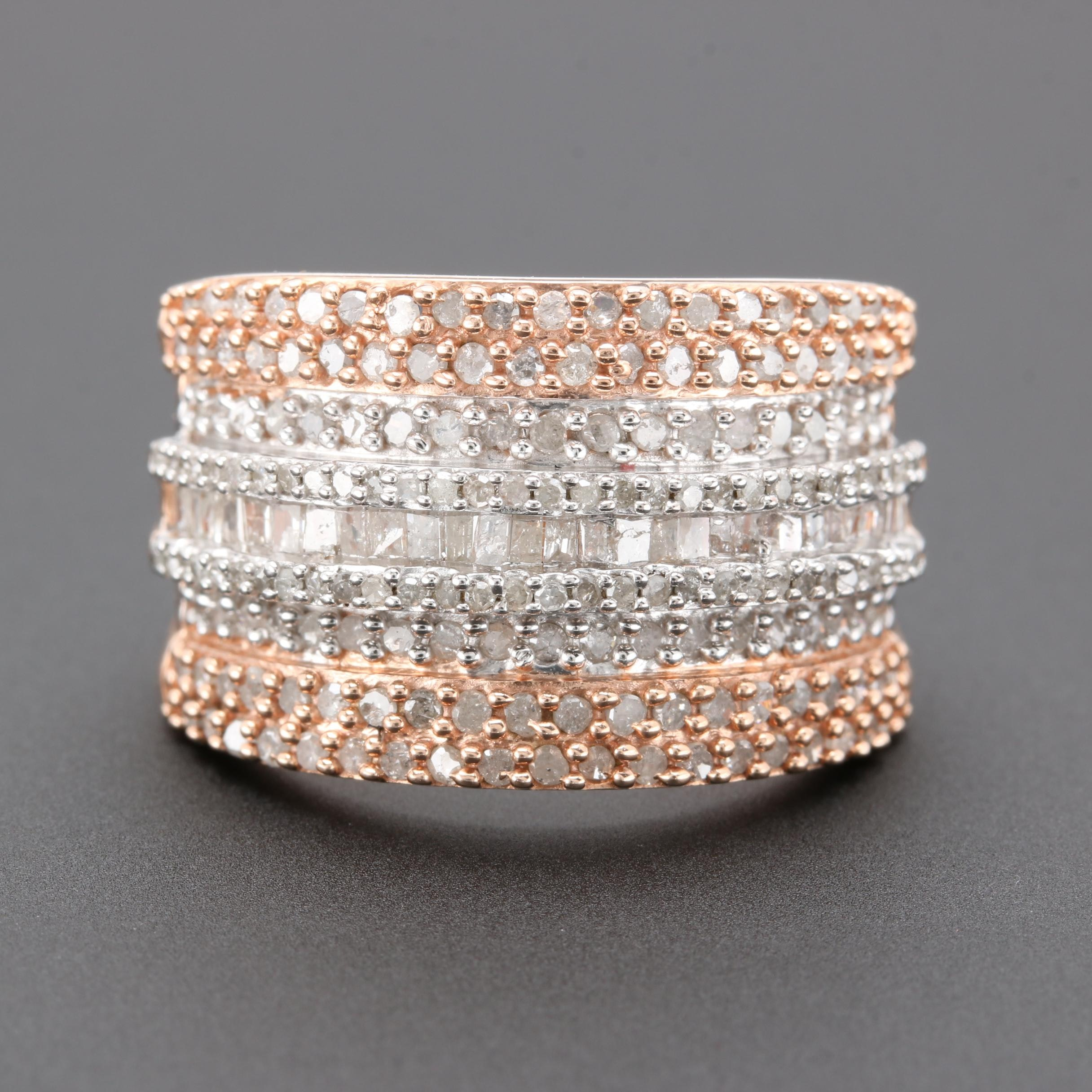 Rose Gold Wash on Sterling Silver 1.23 CTW Diamond Ring