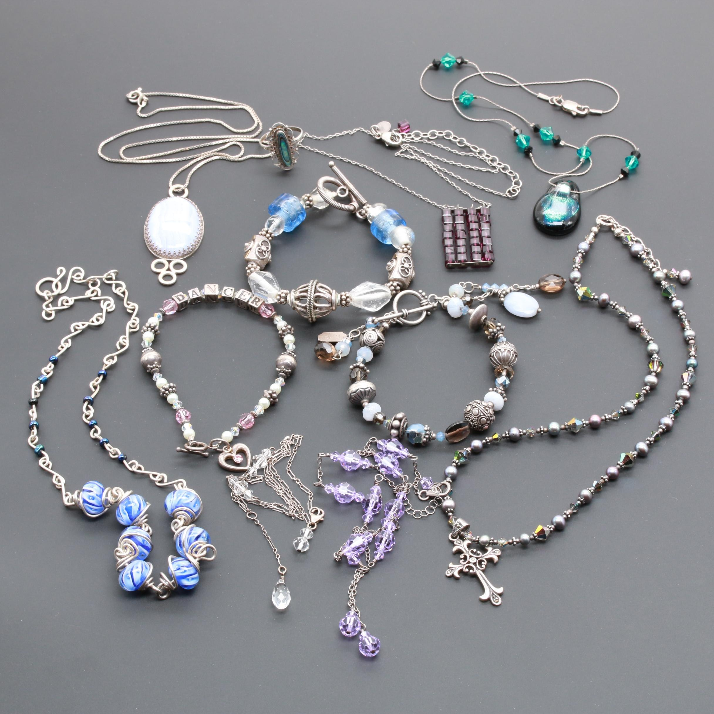 Sterling Silver Jewelry Assortment Including Abalone and Blue Lace Agate