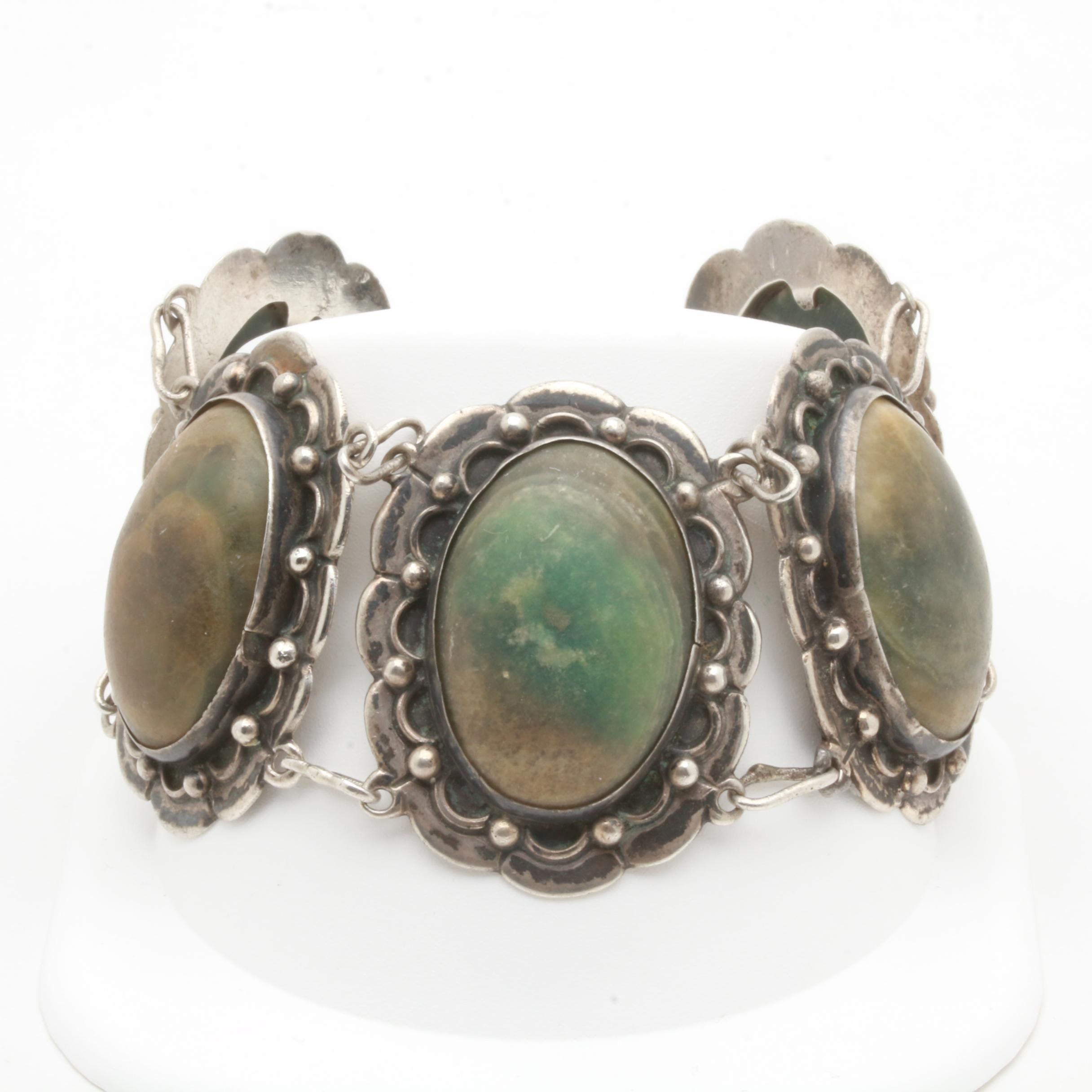 Mexican Sterling Silver Shell Bracelet