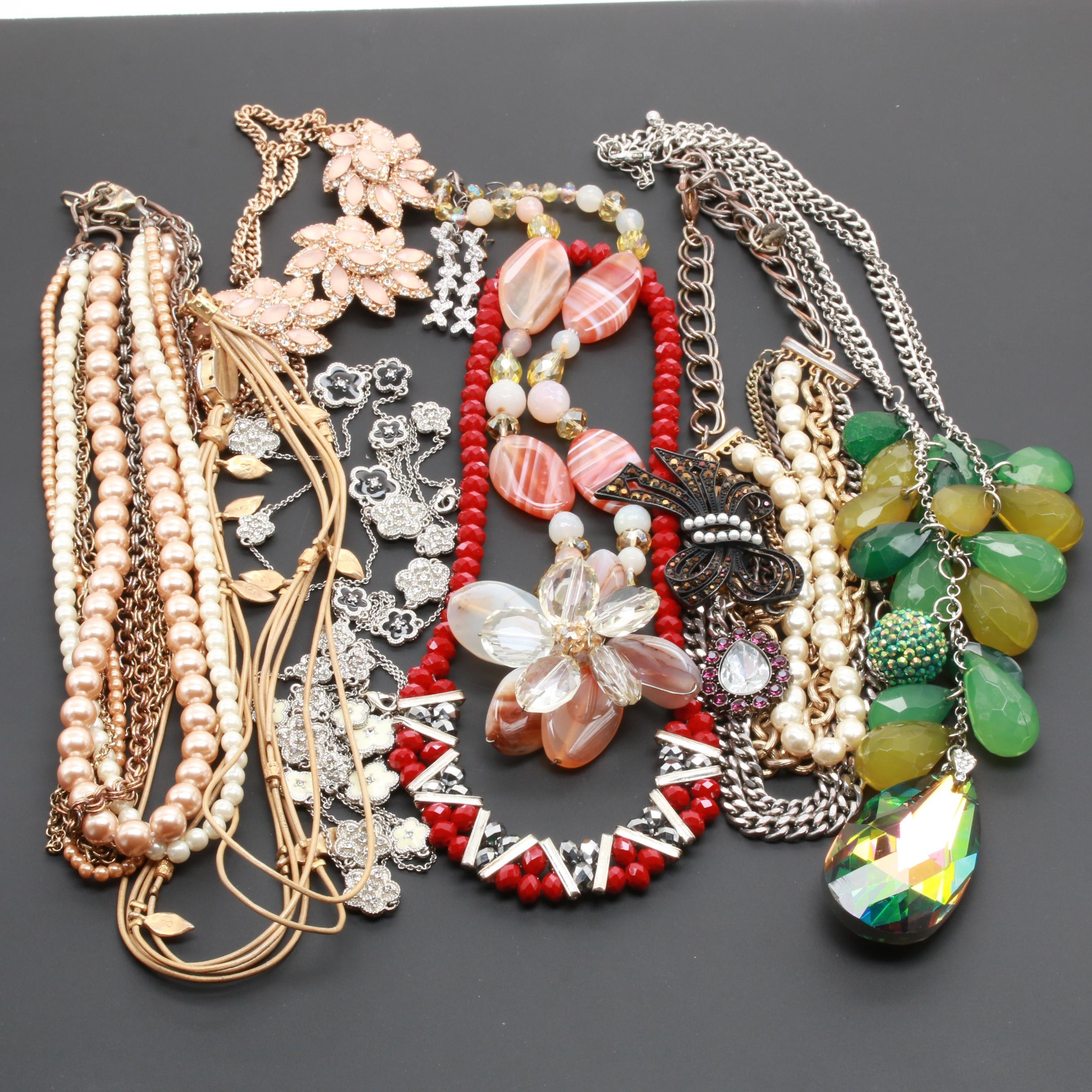 Assortment of Costume Gemstone Jewelry With Imitation Pearl