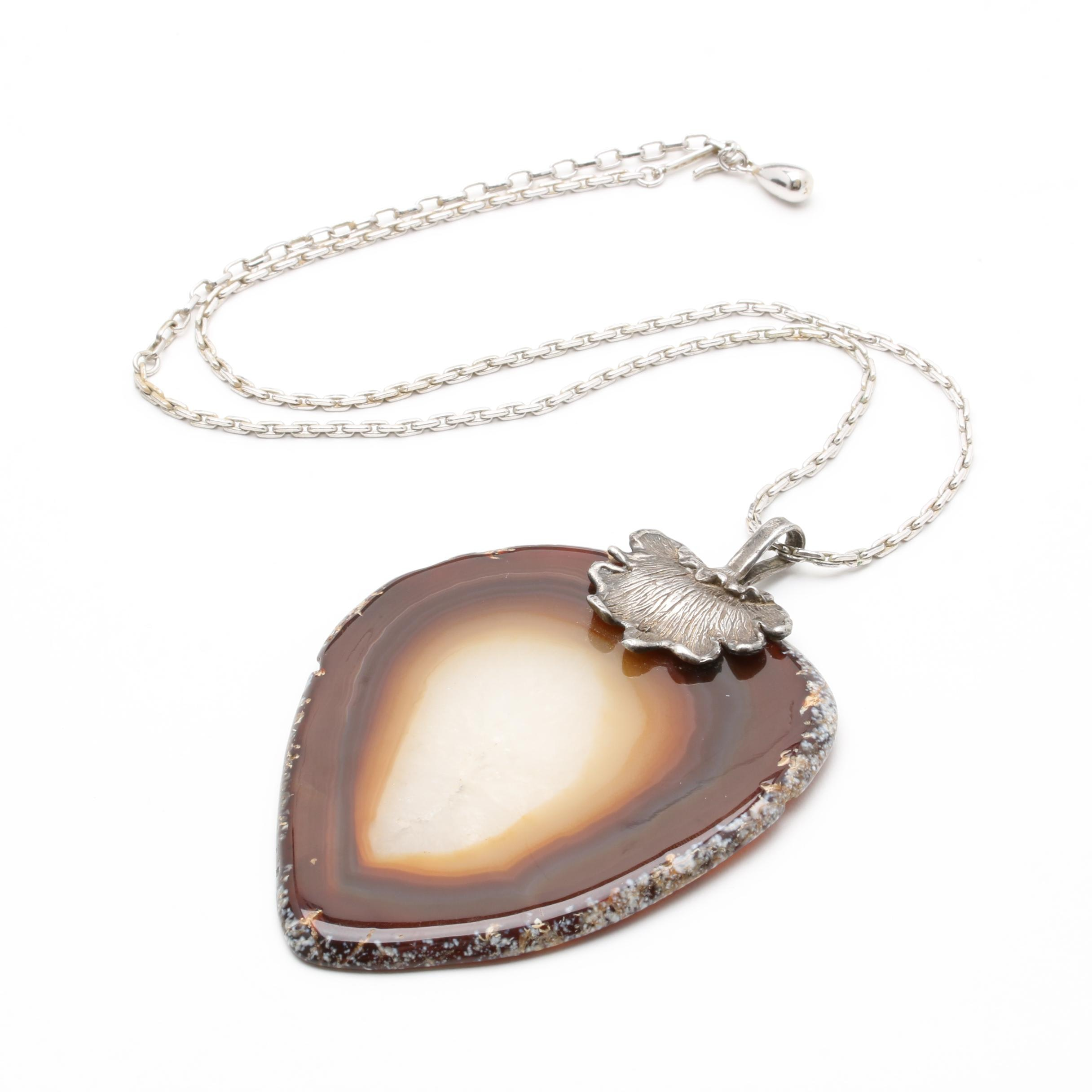 Silver Tone Agate Pendant Necklace Including Sterling Silver
