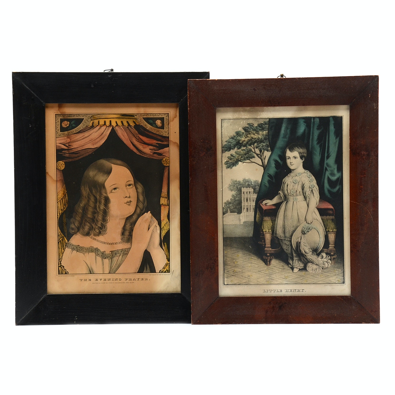 Two Antique Hand-Colored Lithographs