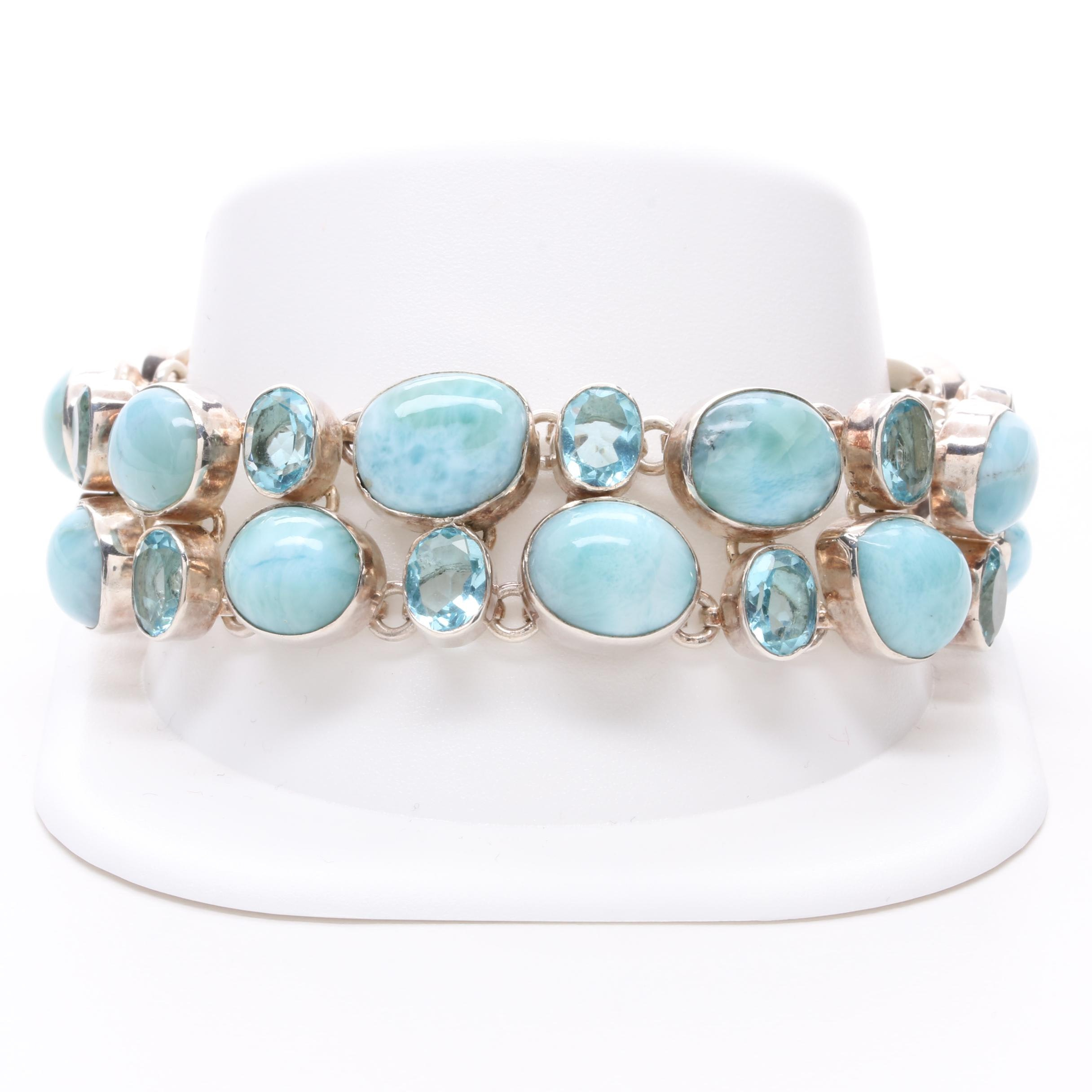 Sterling Silver Amazonite and Blue Glass Bracelet