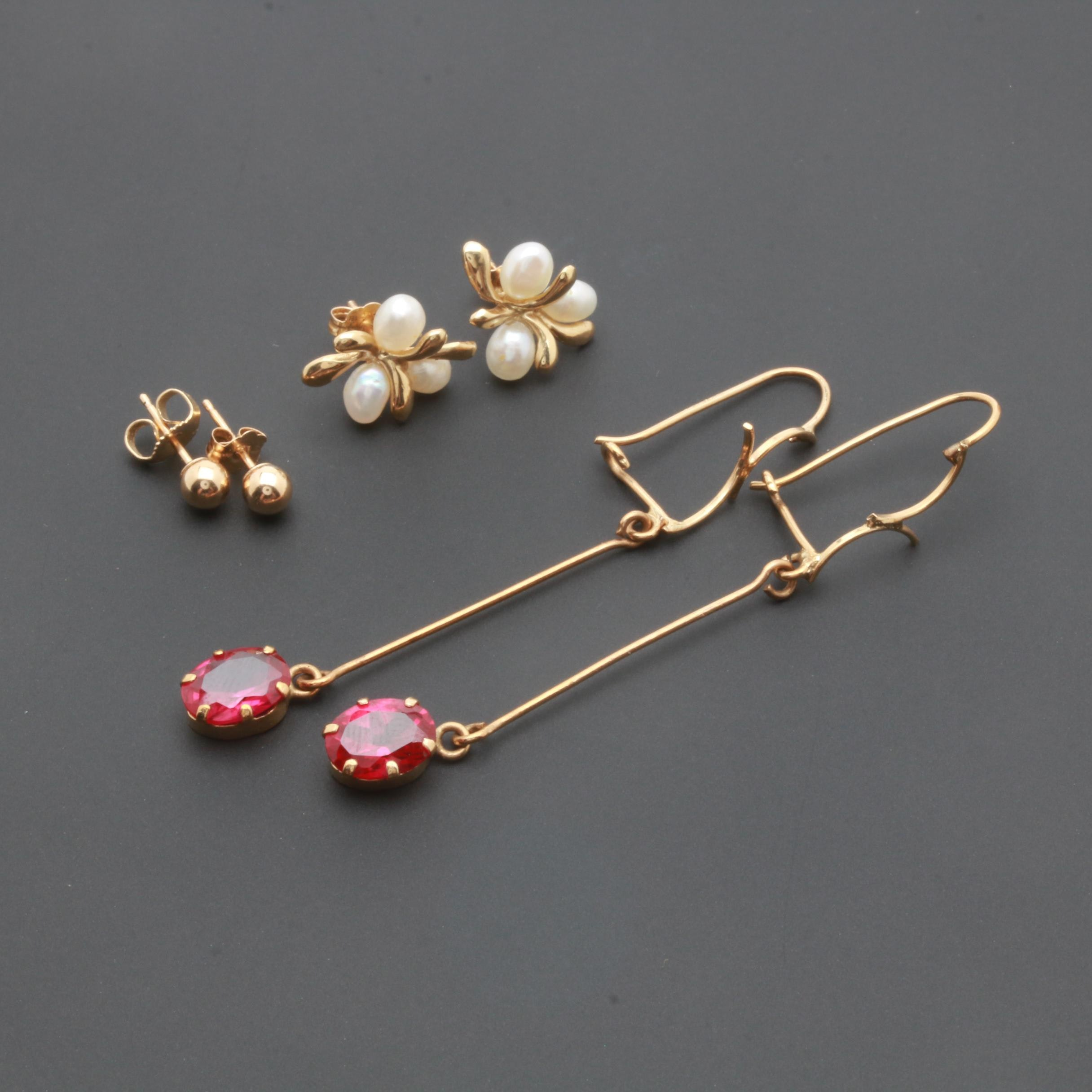 14K Yellow Gold Earring Selection including Cultured Pearl and Synthetic Ruby