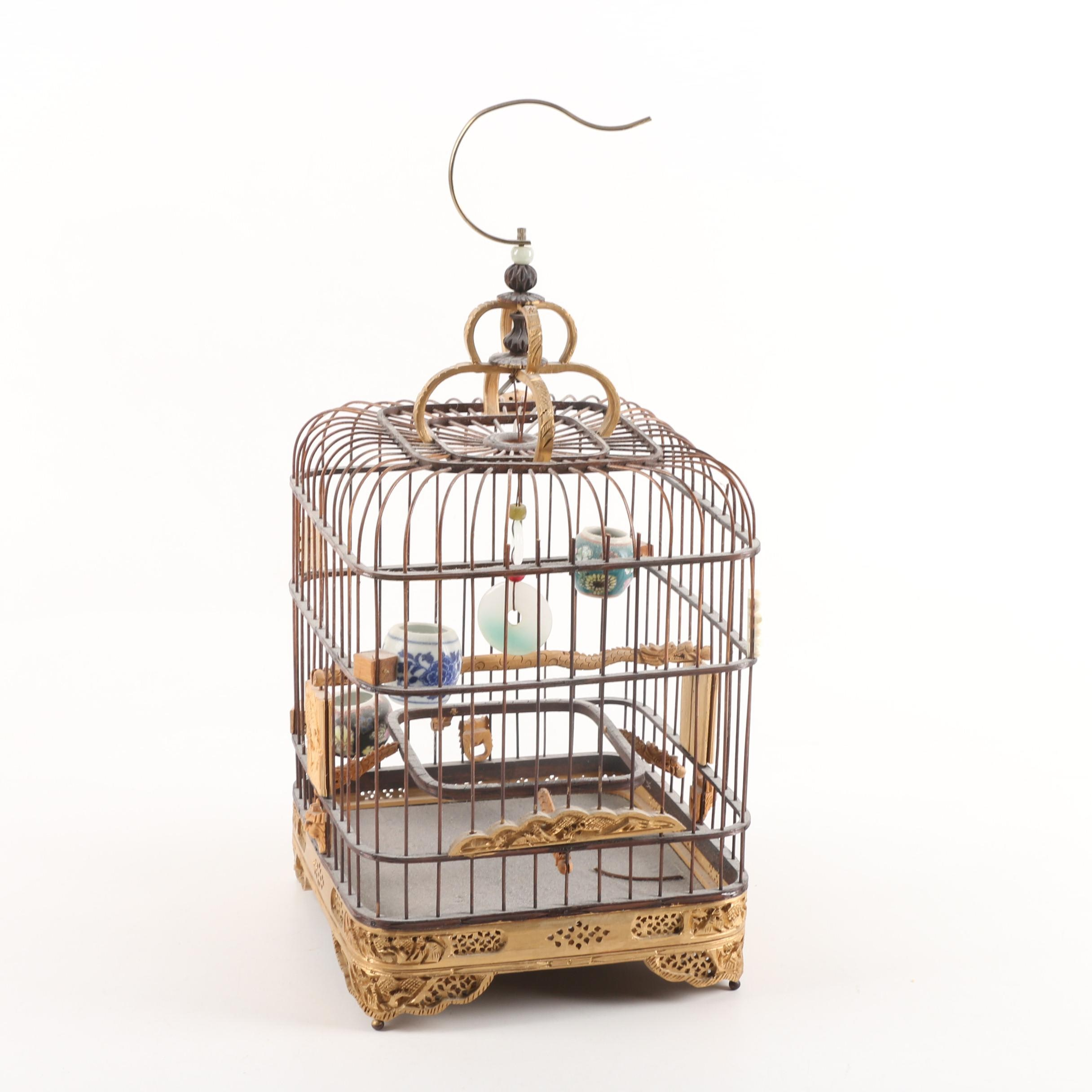 Chinese Giltwood and Metal Birdcage with Jadeite Dyed Glass Accent