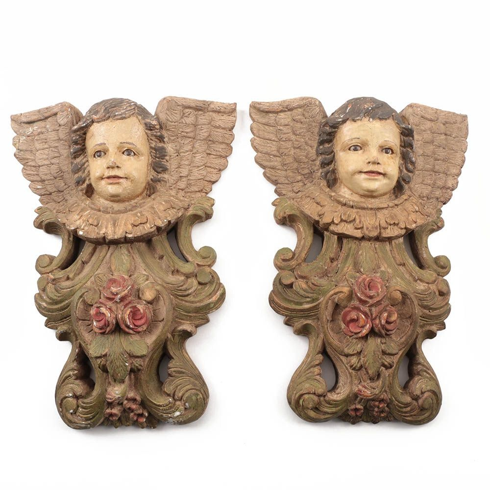 Pair of 19th Century Mexican Carved Putti Wall Hangings in Polychrome Paint