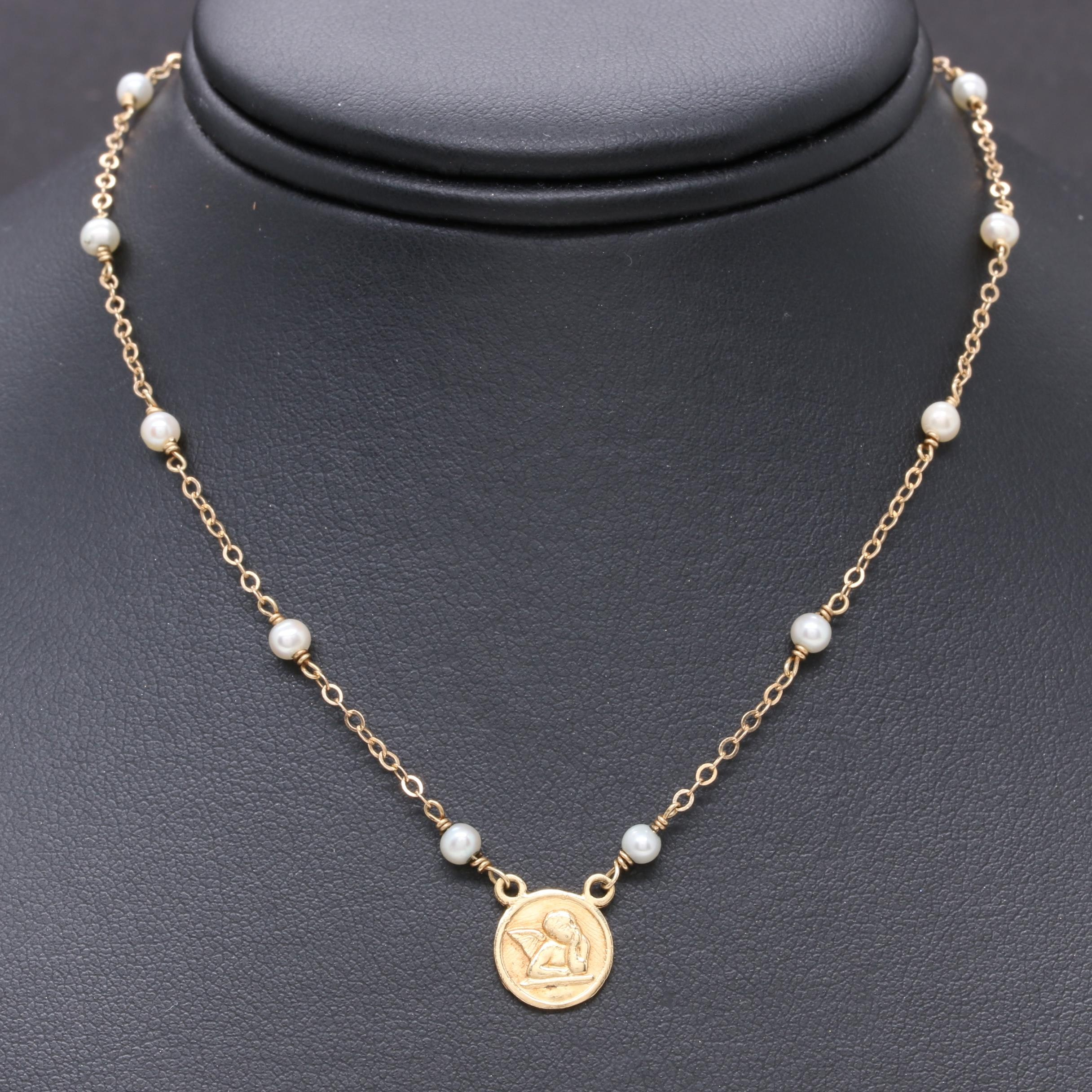 14K Yellow Gold and Cultured Pearl Child's Necklace