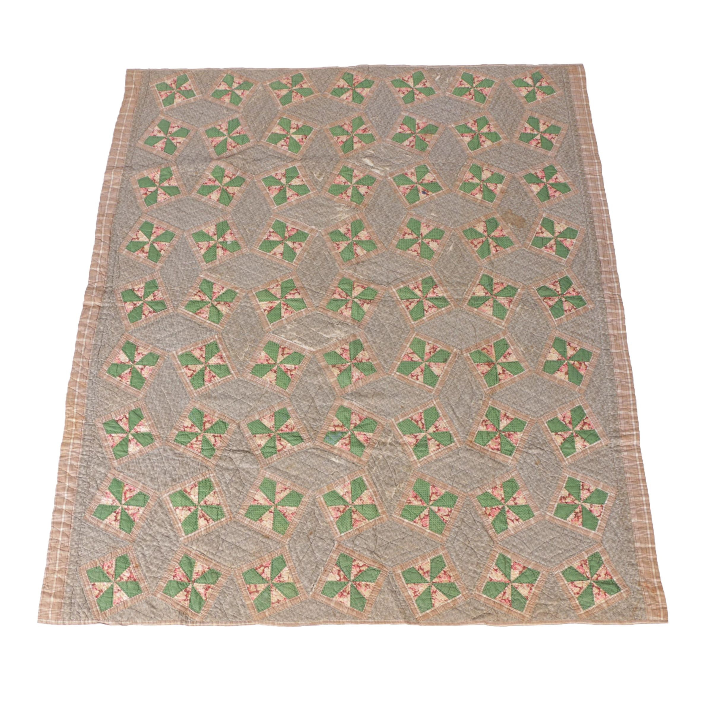 Antique Handmade Green And Brown Block Quilt