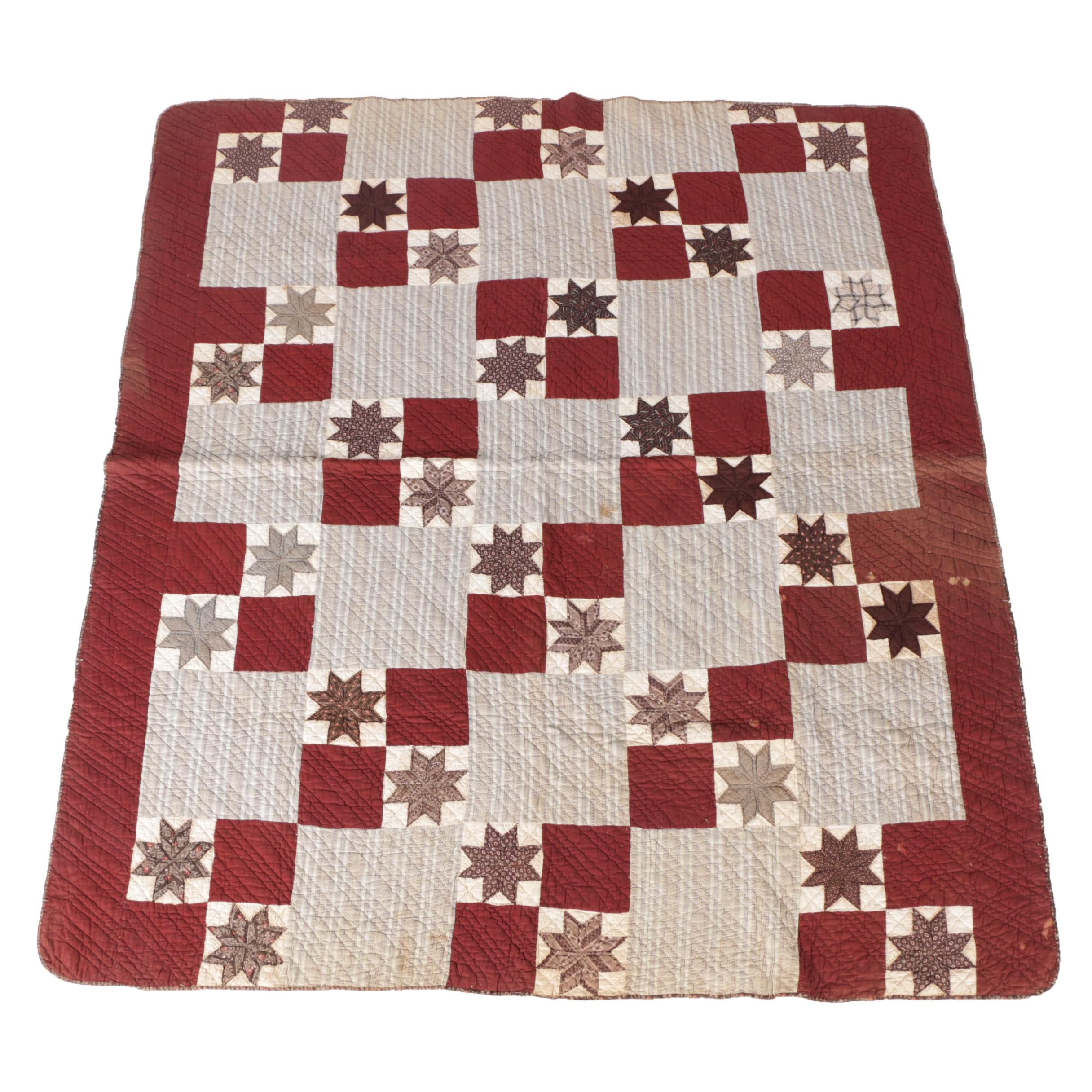 "Antique Handmade ""Block And Star"" Quilt"