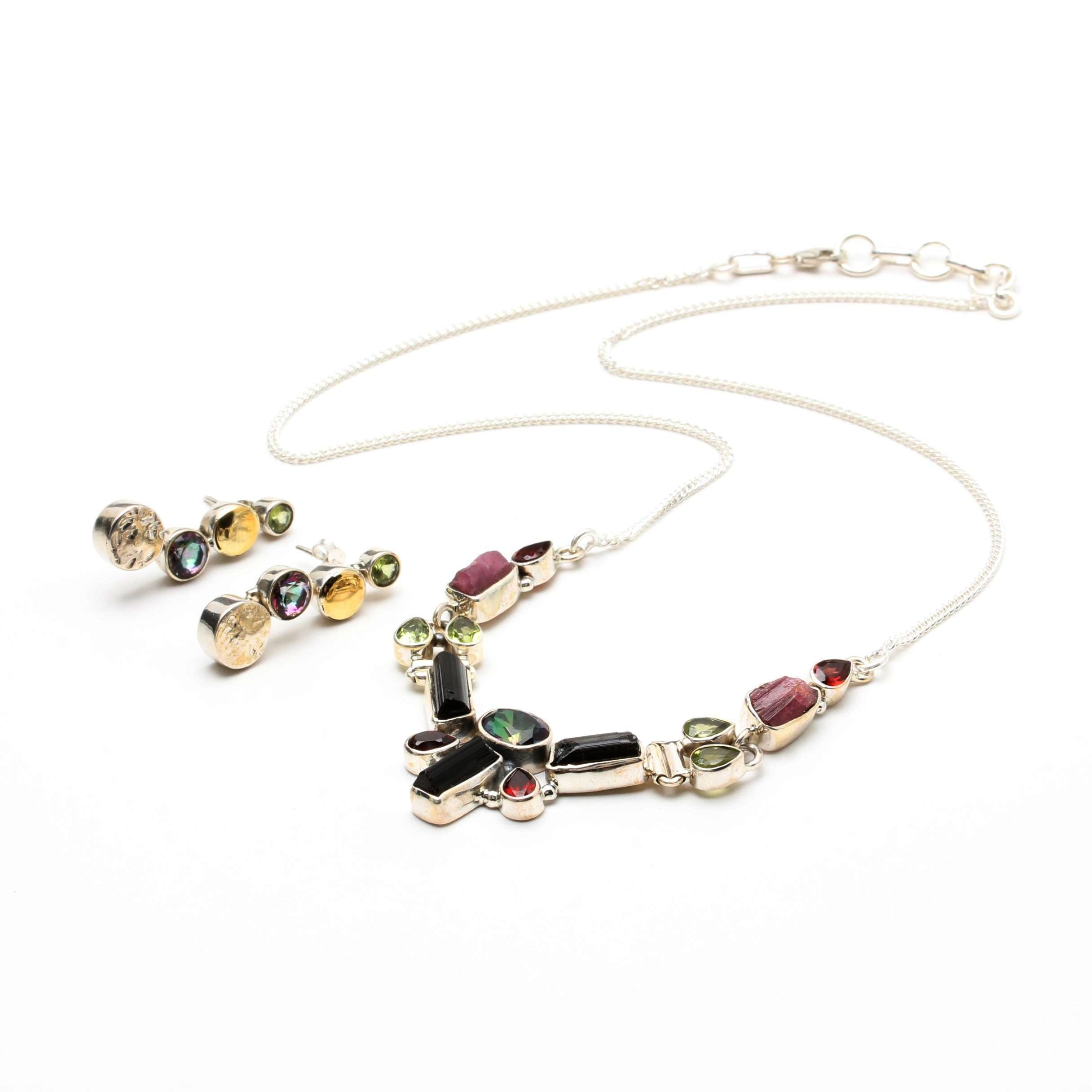 Sterling Silver Gemstone Necklace and Earrings Including Peridot