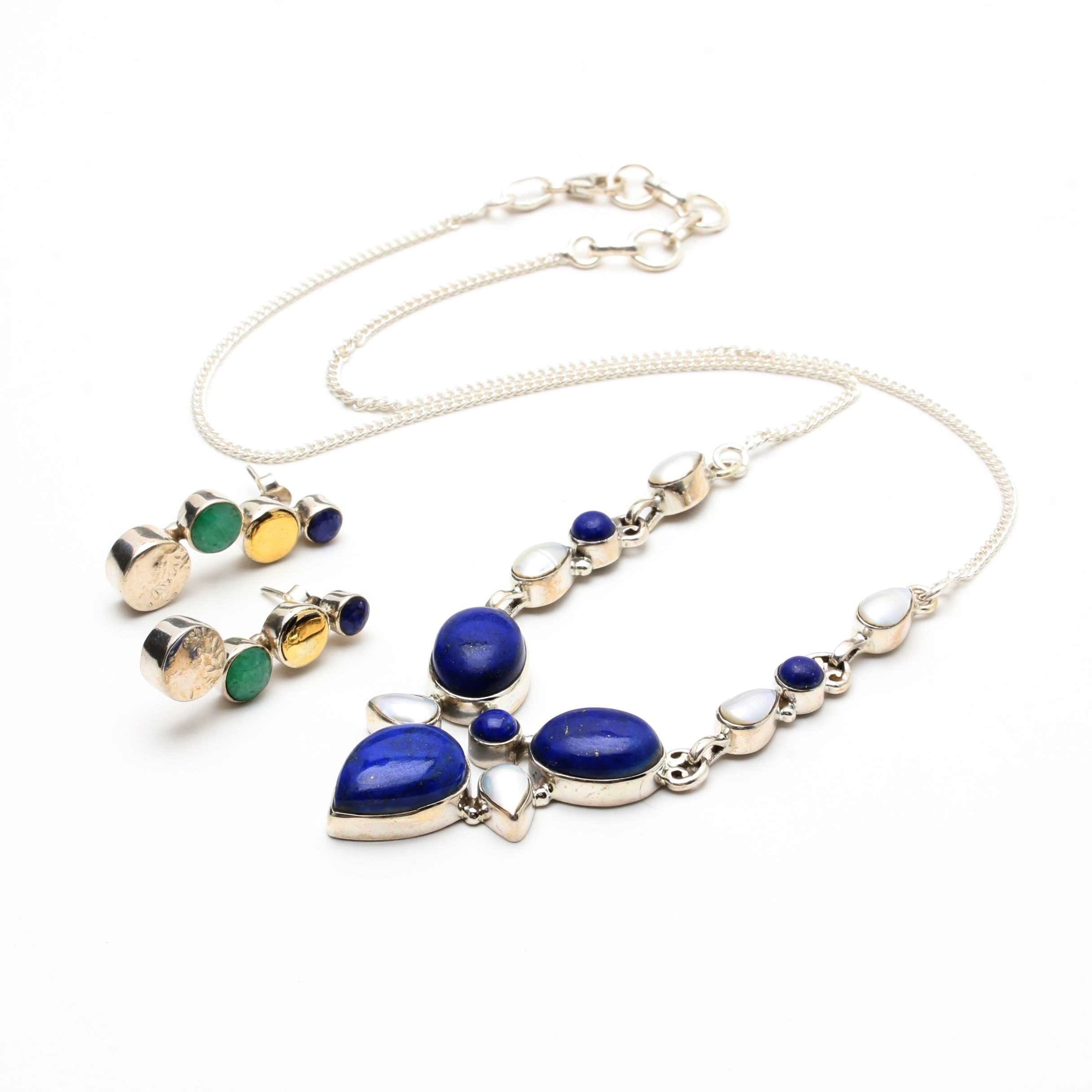 Sterling Silver Gemstone Jewelry Including Lapis Lazuli